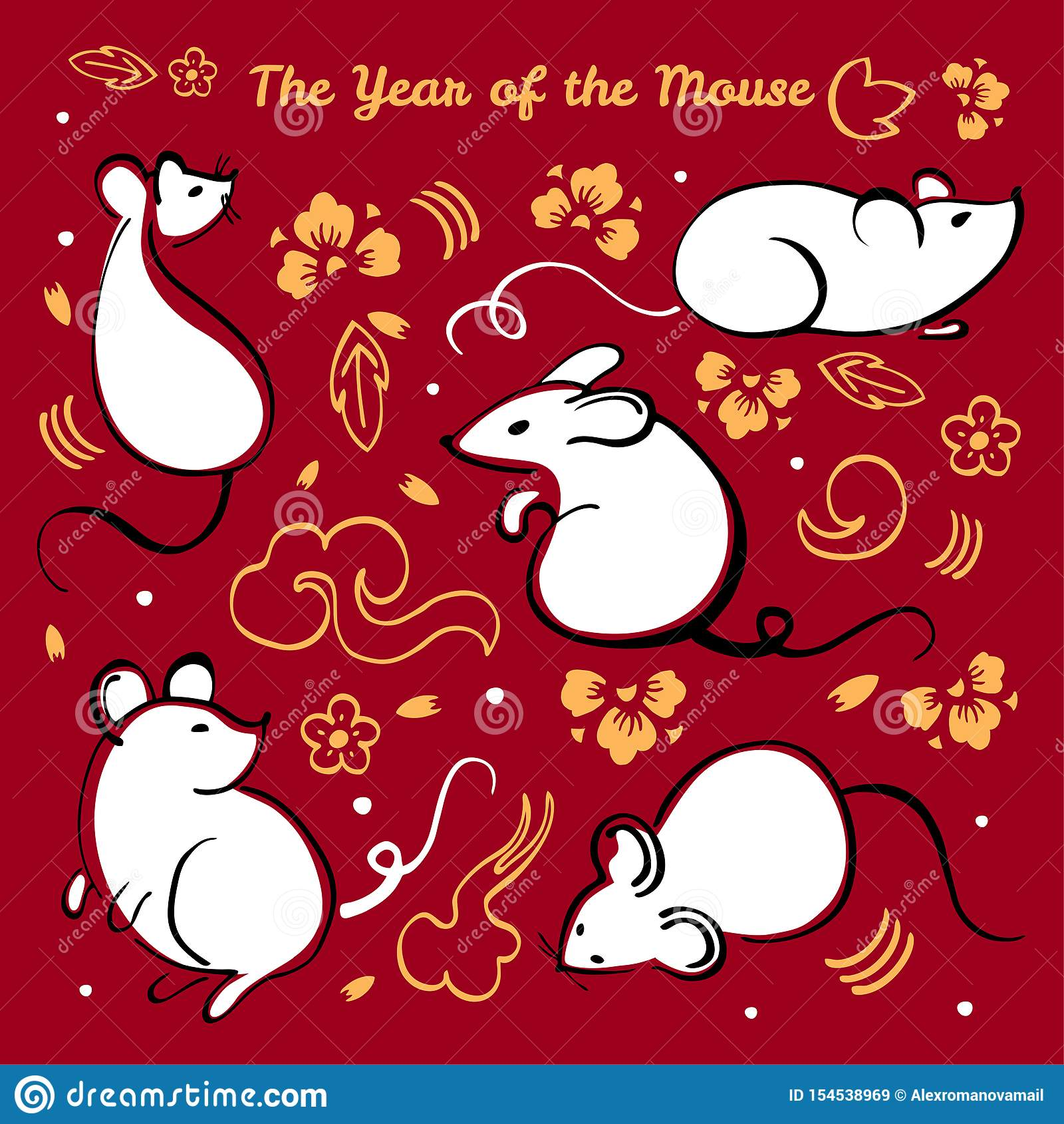 Año Nuevo chino 2020 Ejemplo del vector fijado con diversos caracteres animales, los elementos decorativos y las flores en fondo