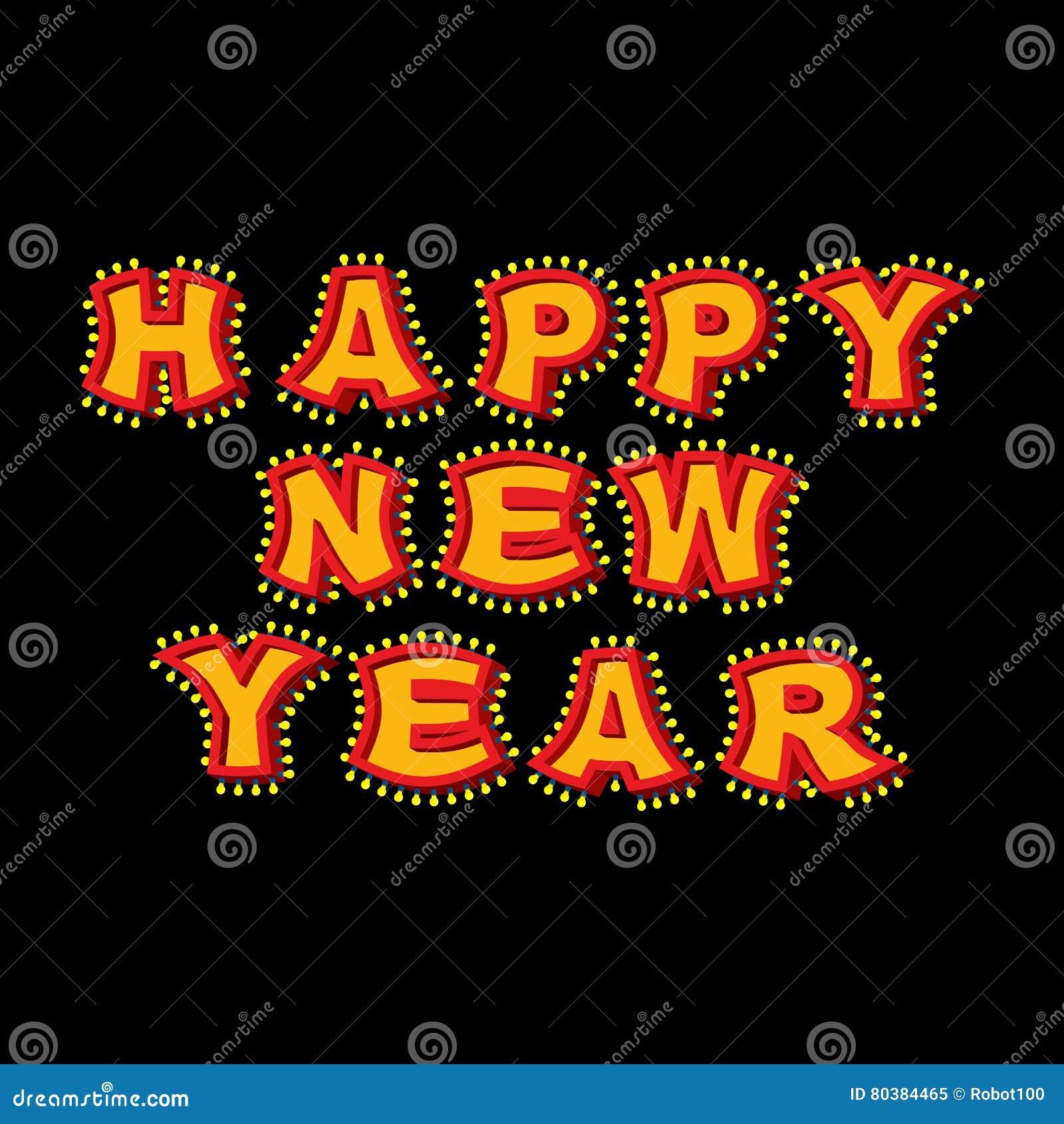 Año Nuevo Con La Muestra Del Vintage De Las Lámparas Cartas Que