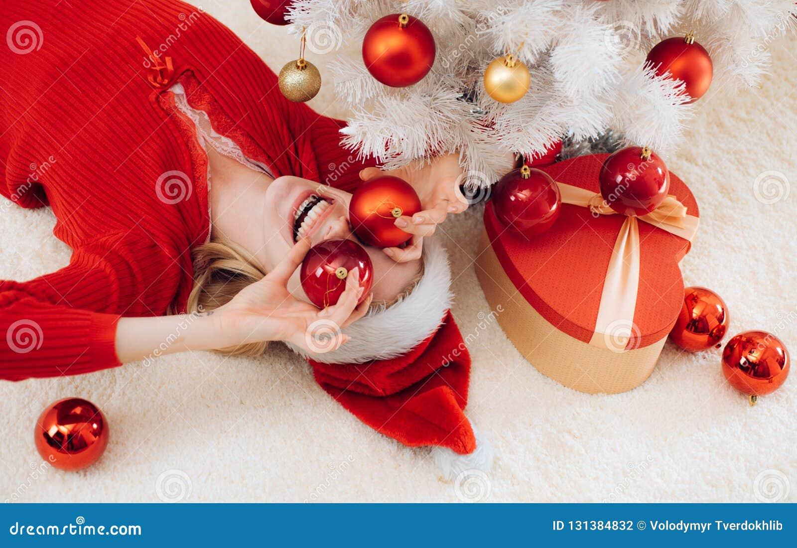 Año Nuevo de las mujeres Feliz Navidad y Feliz Año Nuevo Diversión de Papá Noel Rectángulo de regalo del Año Nuevo Muchacha diver