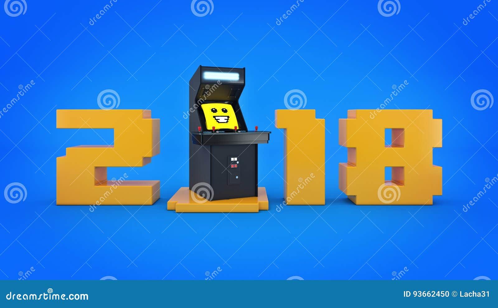 Ano Nuevo Del Concepto 2018 De La Maquina De Juego De Arcada Del