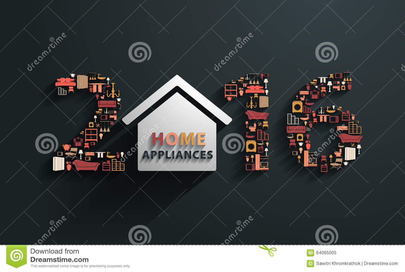 Año Nuevo del vector 2016 con los iconos planos de los aparatos electrodomésticos del diseño