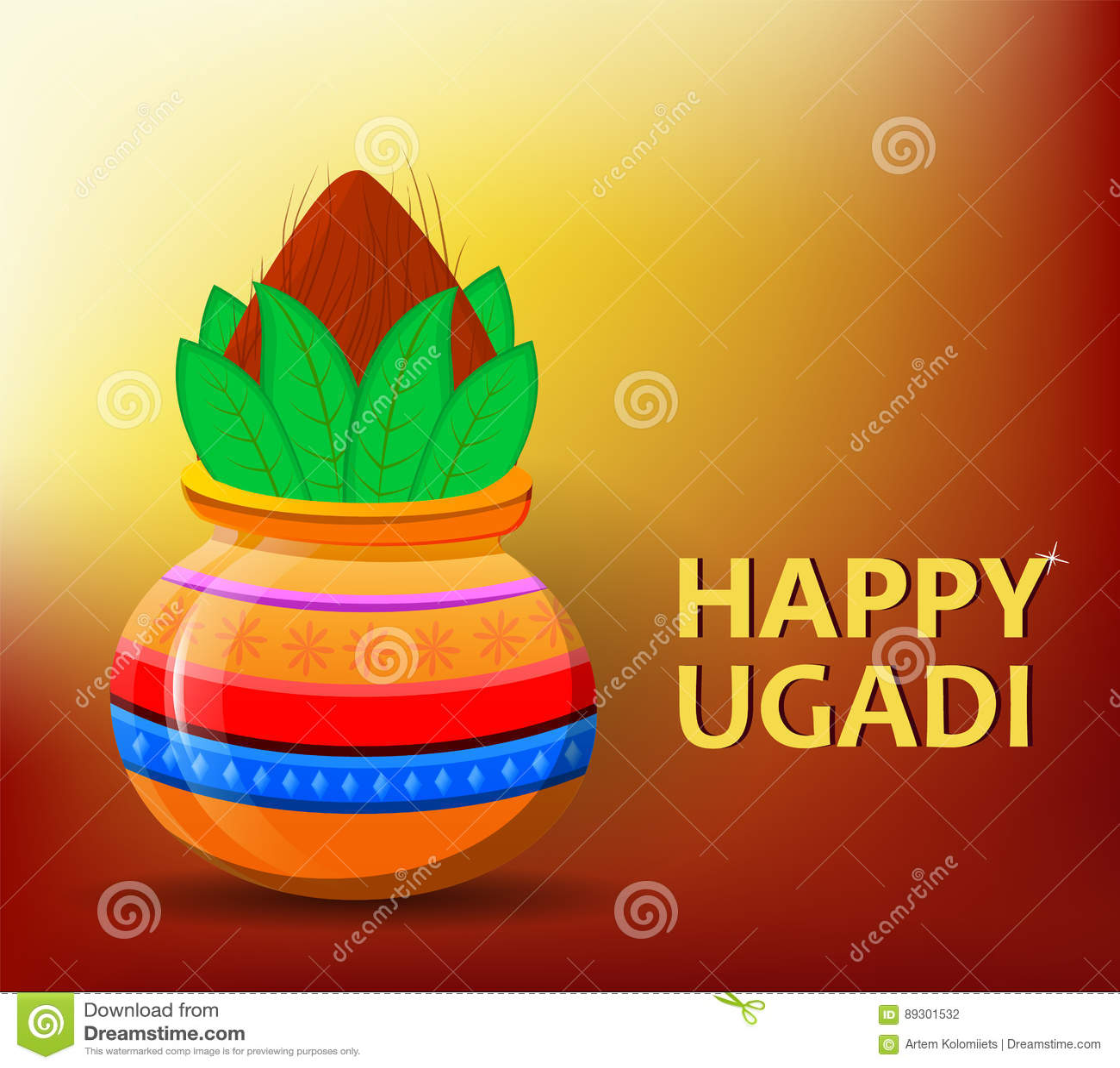 Año Nuevo Hindú Feliz De Ugadi Y De Gudi Padwa Tarjeta De