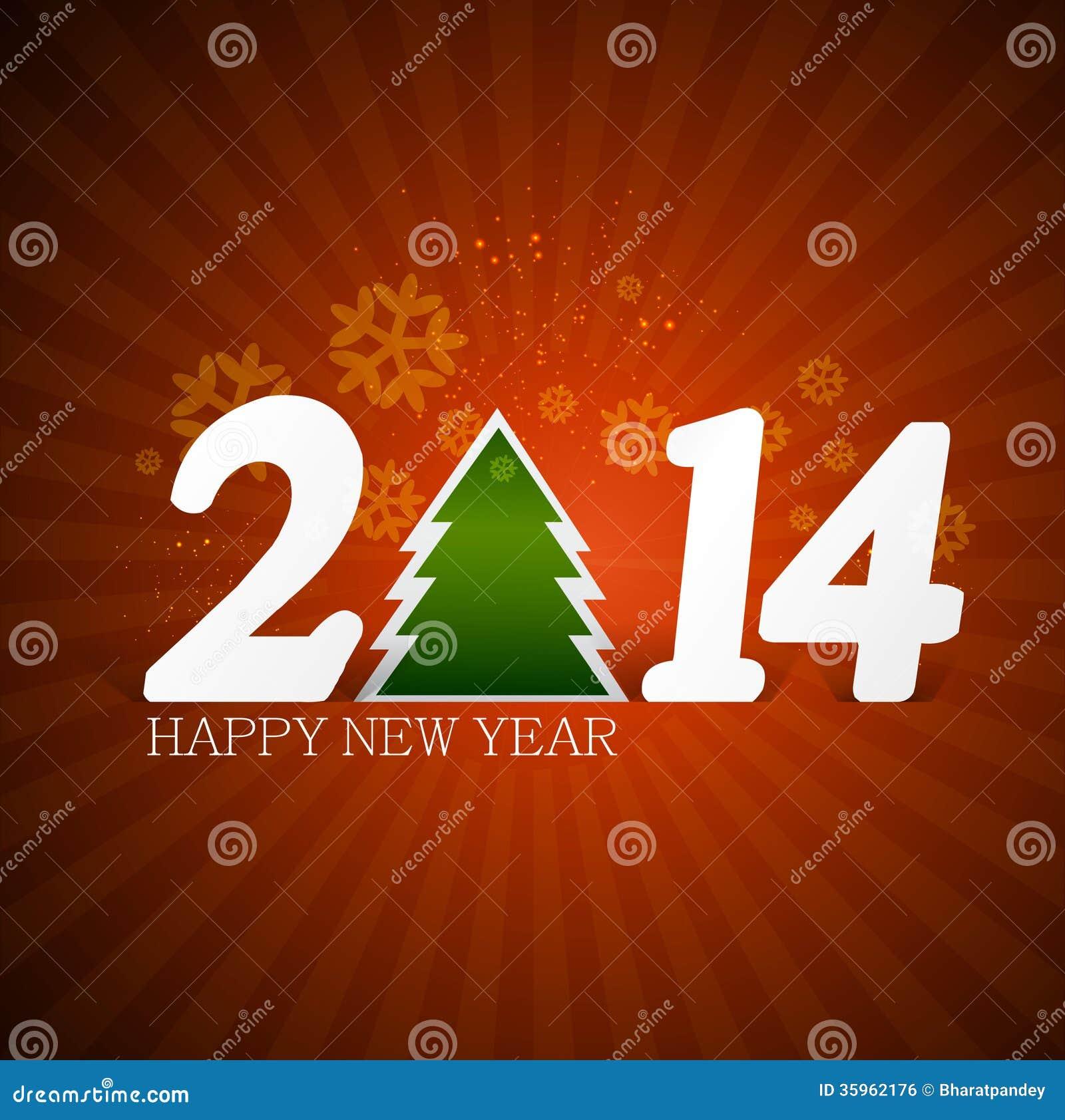 Año Nuevo para la tarjeta 2014 de la invitación de la Feliz Navidad