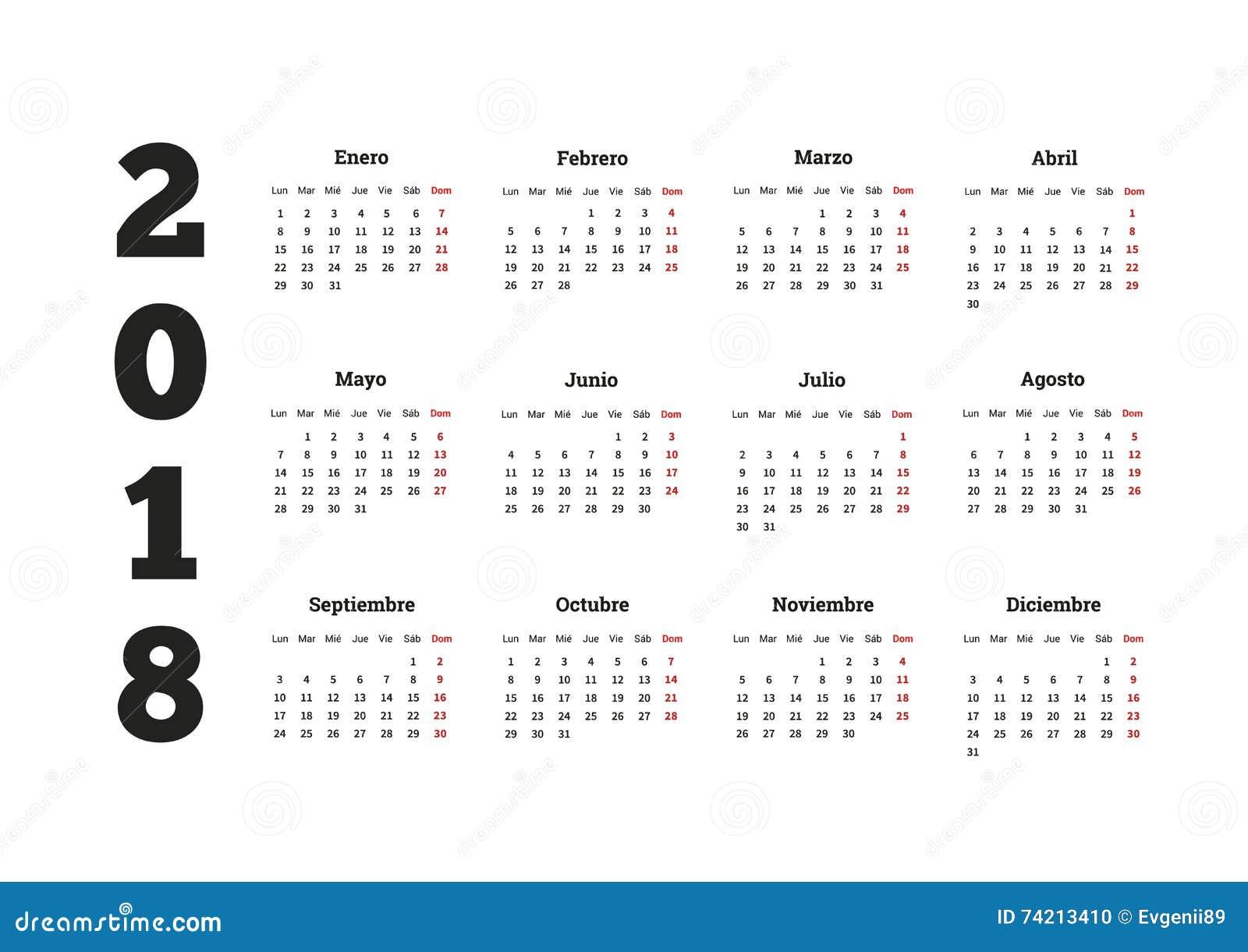 año simple del calendario 2018 en lengua española ilustración del
