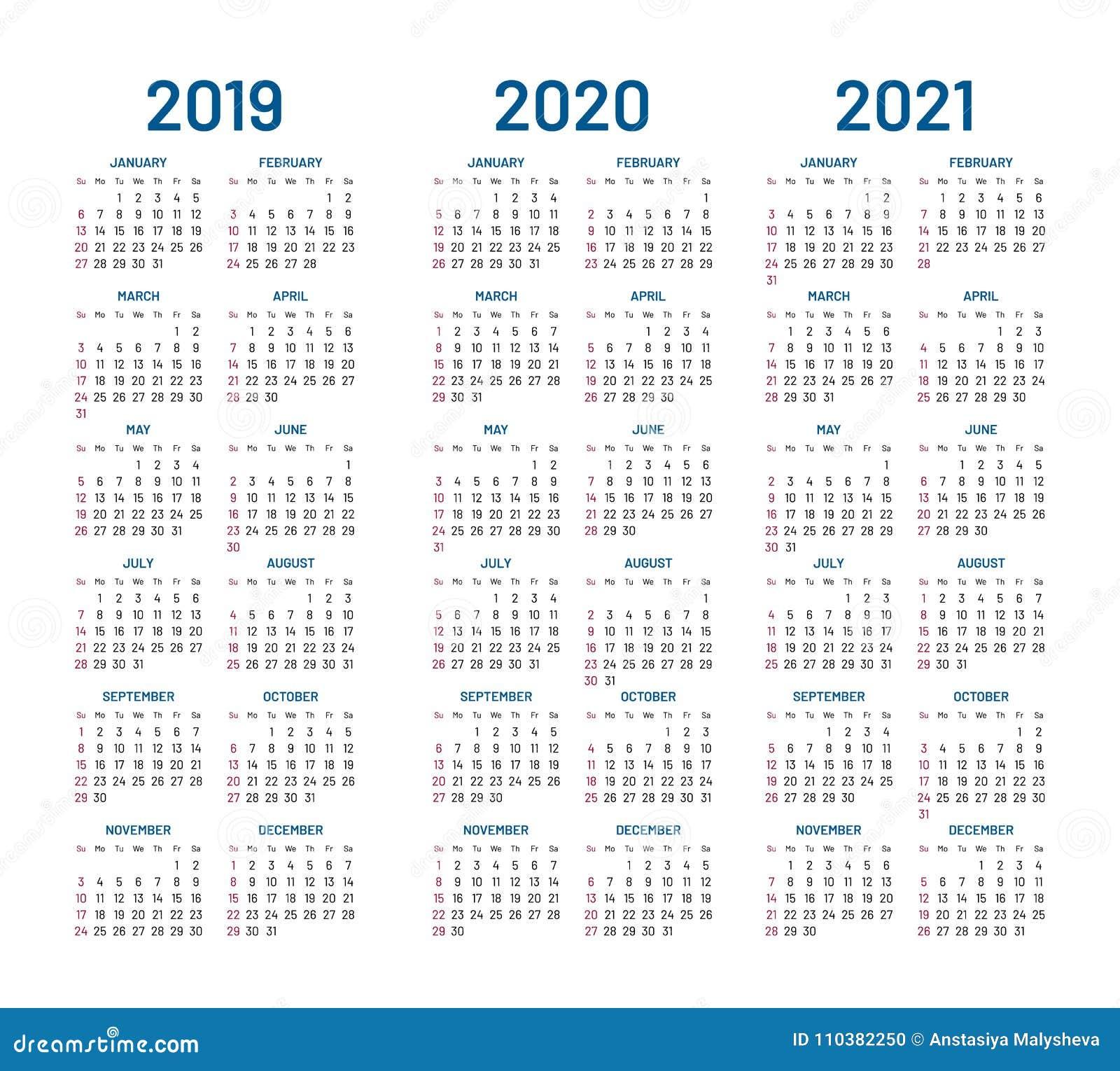 Año 2019 2020 Vector De 2021 Calendarios Ilustración del Vector