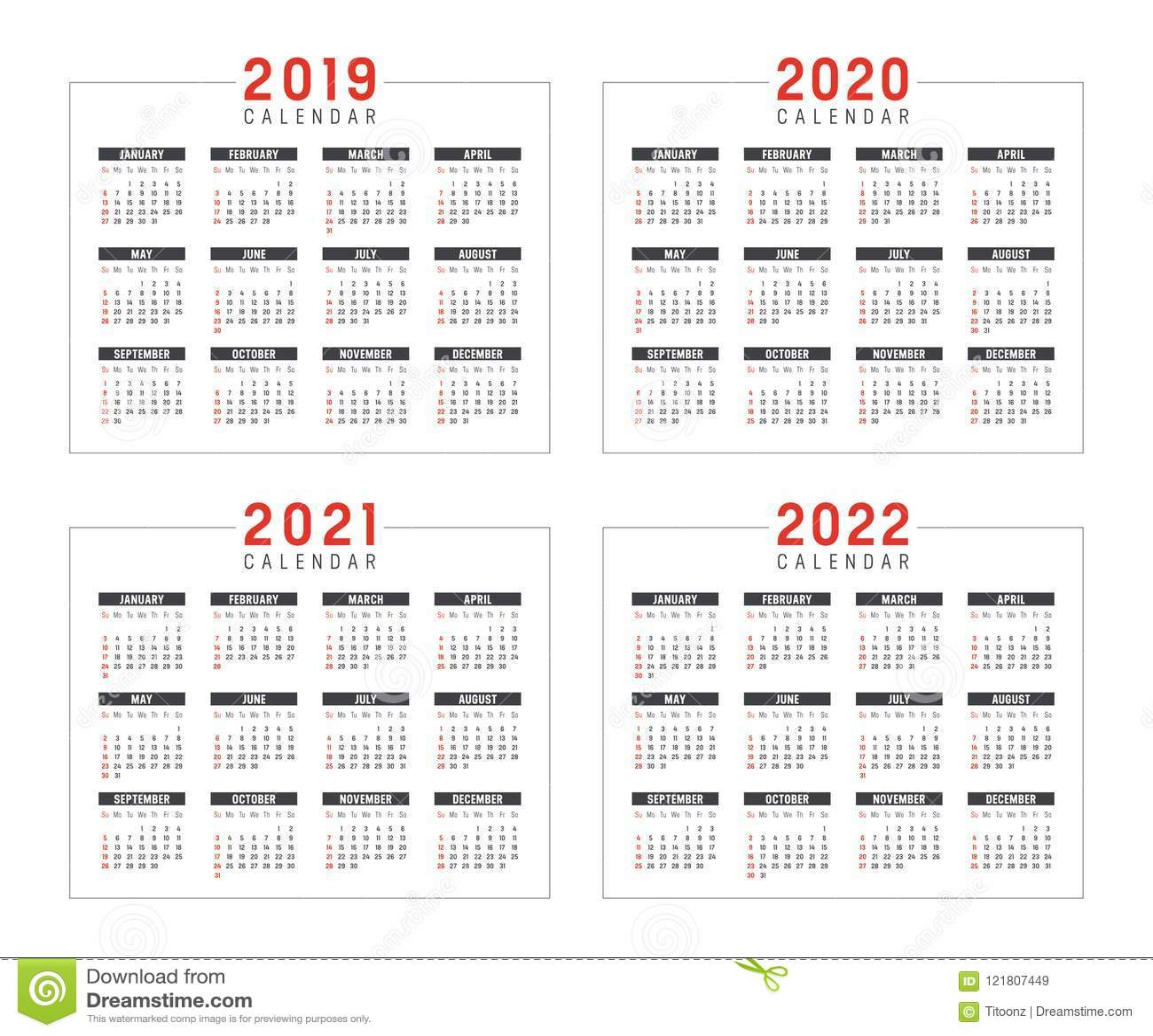 Años 2019 2020 2021 2022 Calendarios Ilustración del Vector