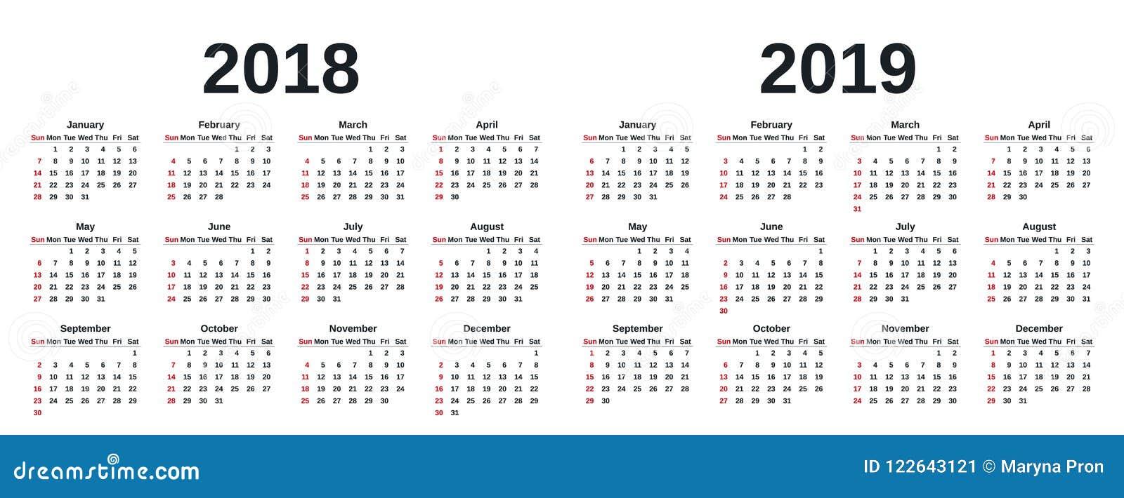 2019 años civiles Ilustración del vector Planificador de la plantilla
