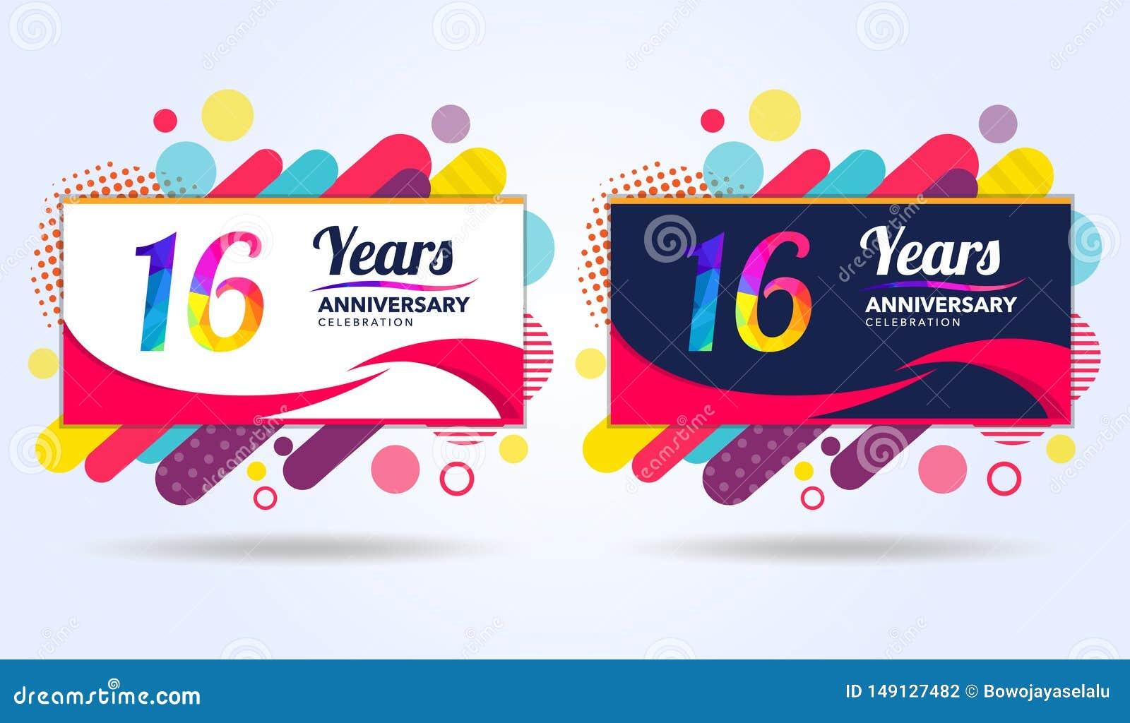 16 a?os de aniversario con los elementos cuadrados modernos del dise?o, edici?n colorida, dise?o de la plantilla de la celebraci?
