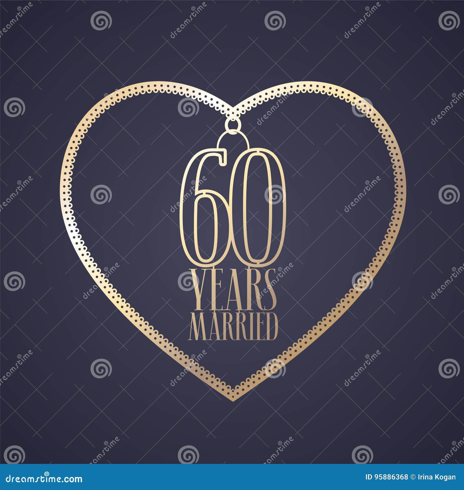 60 Años De Aniversario De Ser Icono Casado Del Vector Logotipo Ilustración Del Vector Ilustración De Elegante Vector 95886368