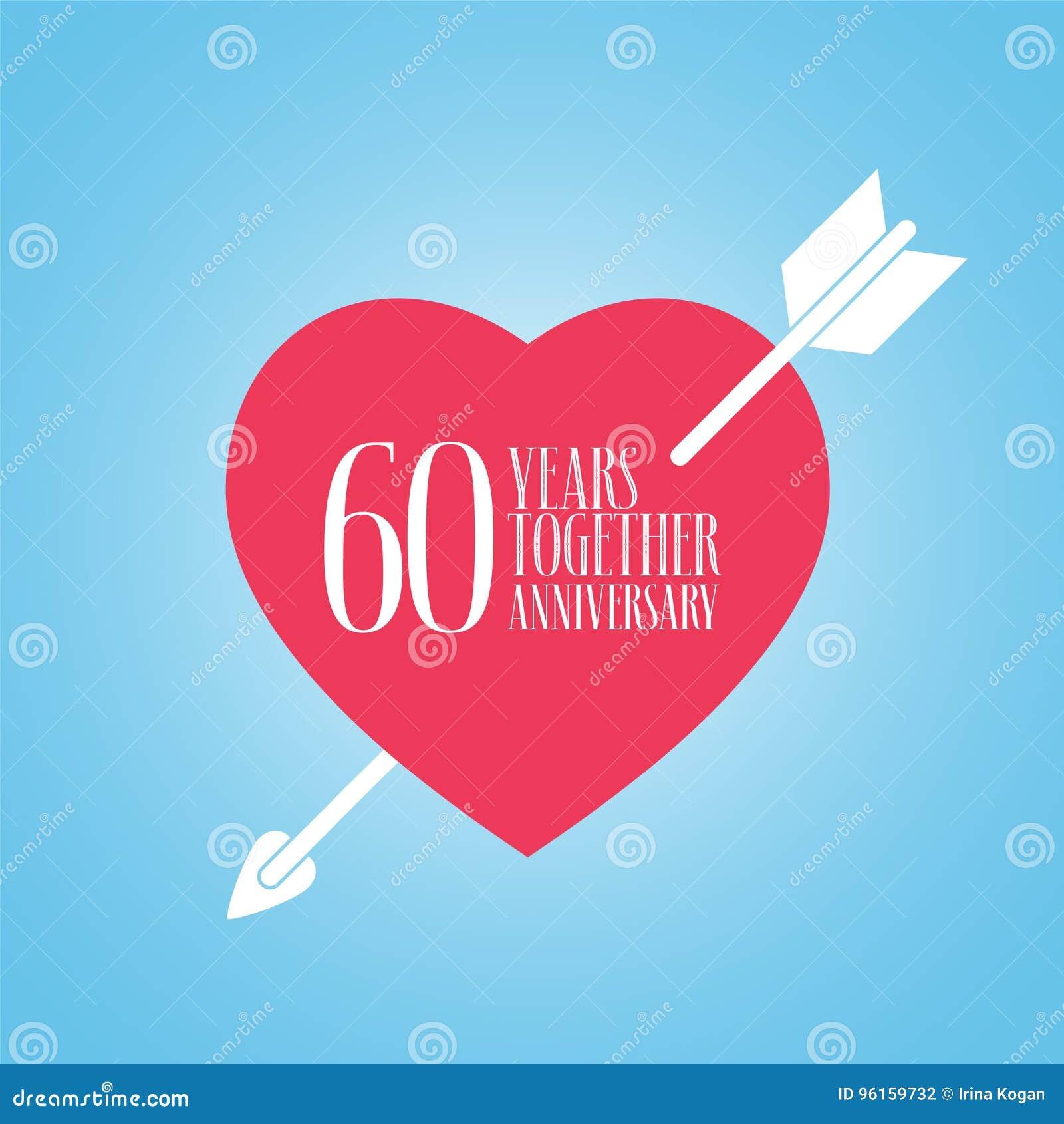 60 Años De Aniversario Del Icono Del Vector De La Boda O De La Boda Ejemplo Ilustración Del Vector Ilustración De Muestra Icono 96159732