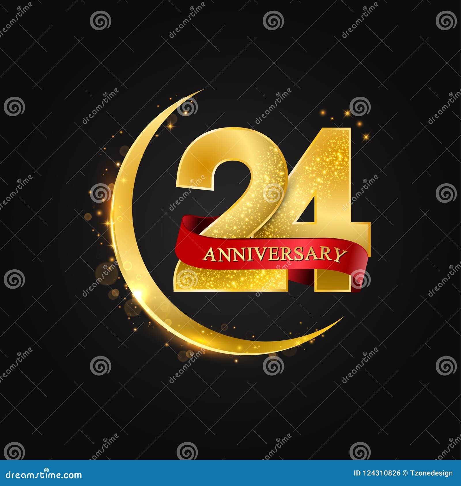 24 años de aniversario Modelo con la media luna de oro, del oro árabe y el brillo