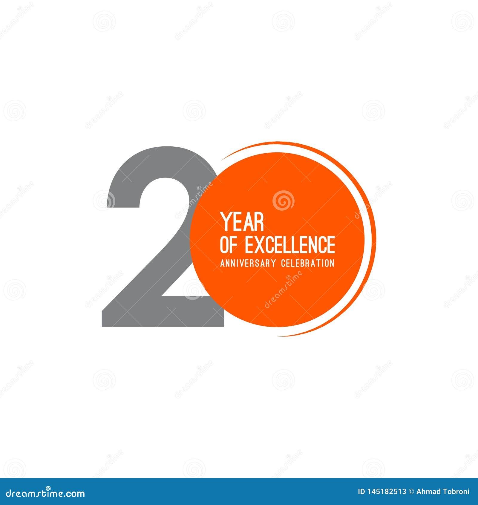 20 años de ejemplo del diseño de la plantilla del vector de la celebración del aniversario de la excelencia