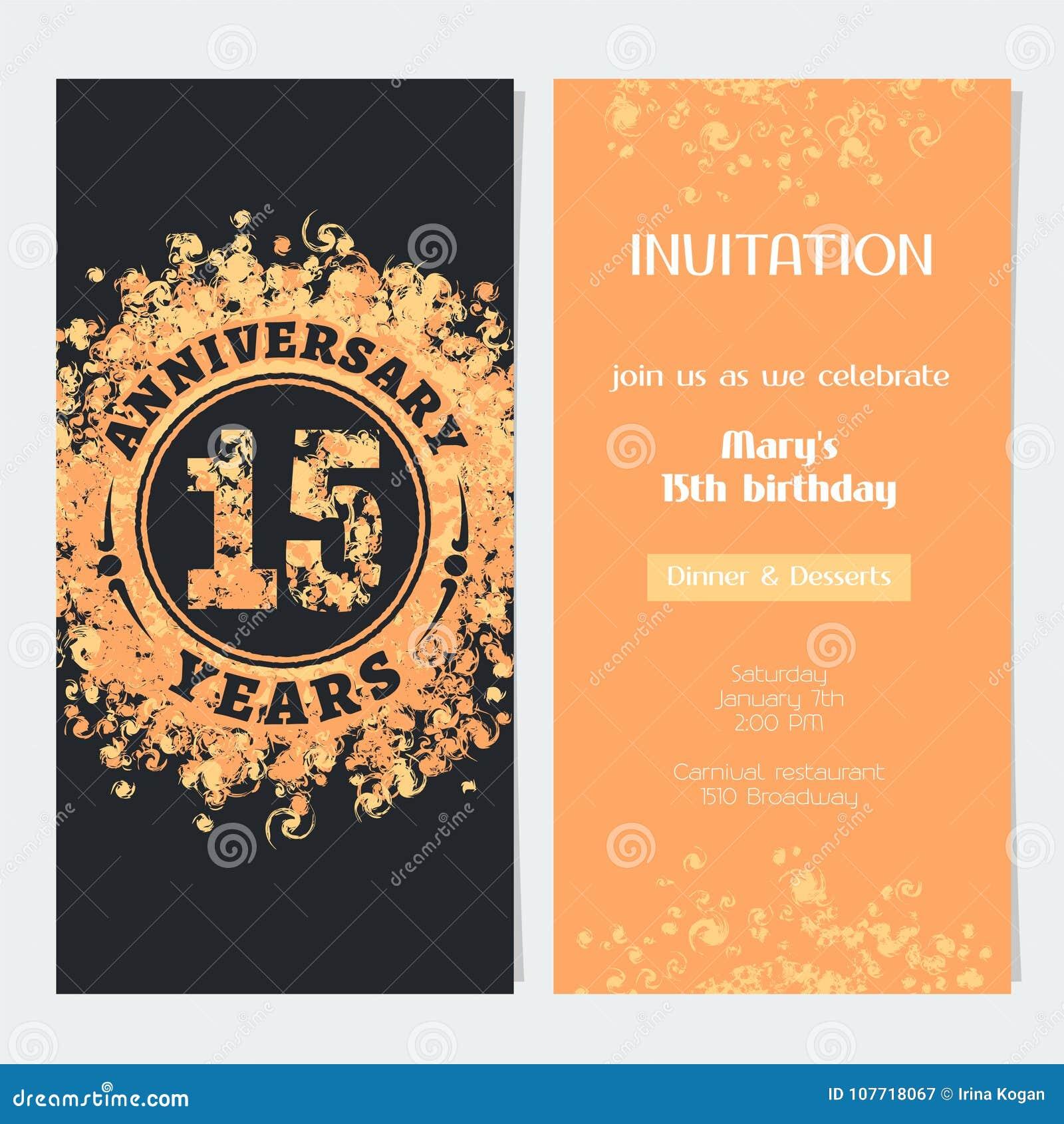 15 Años De Invitación Del Aniversario Al Ejemplo Del Vector