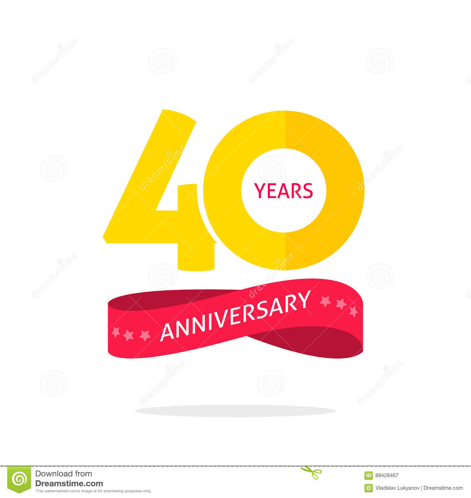 40 años de logotipo del aniversario, 40.a etiqueta del icono del aniversario con la cinta