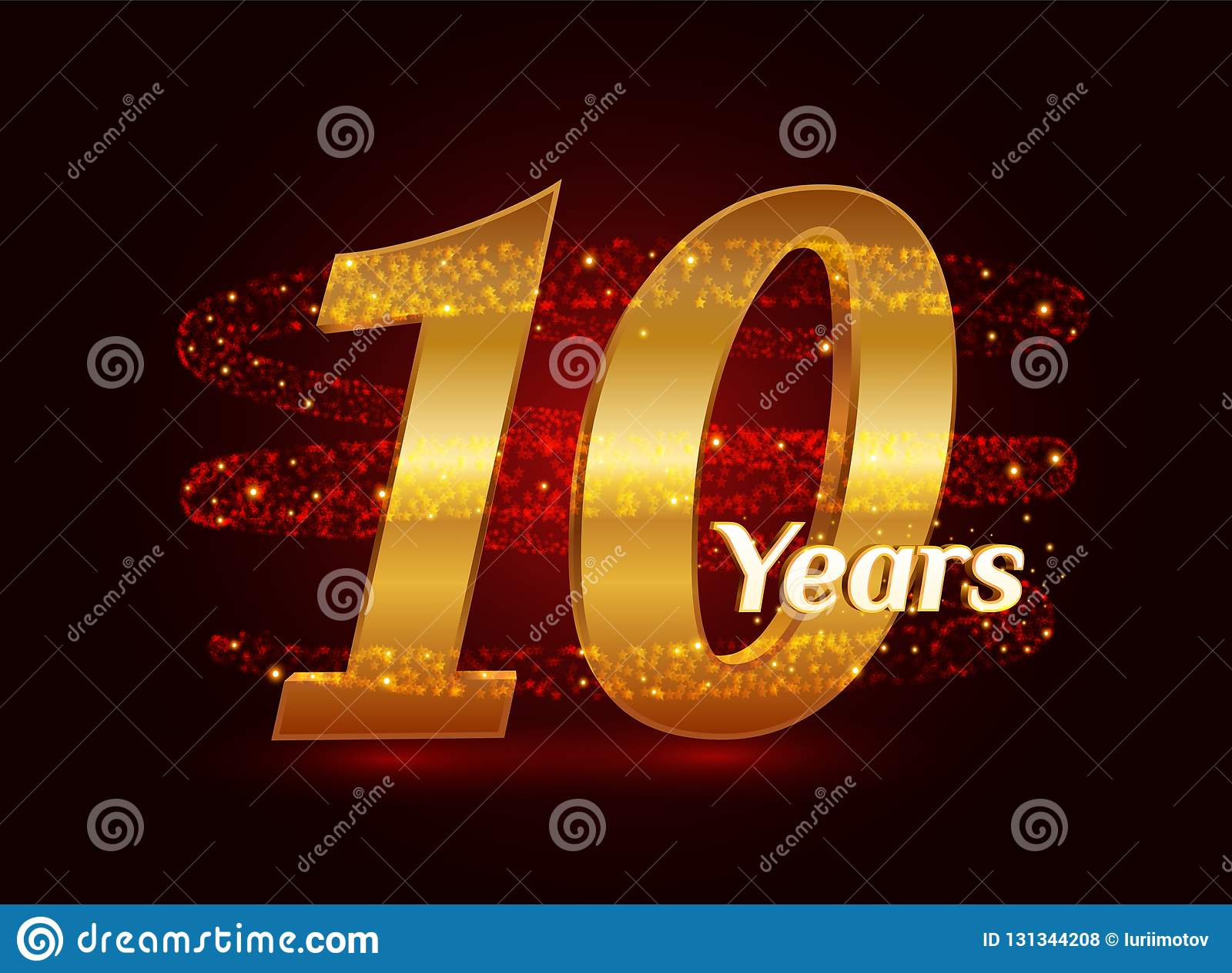 10 años del aniversario 3d de celebración de oro del logotipo con las partículas chispeantes de estrella que brillan del rastro e