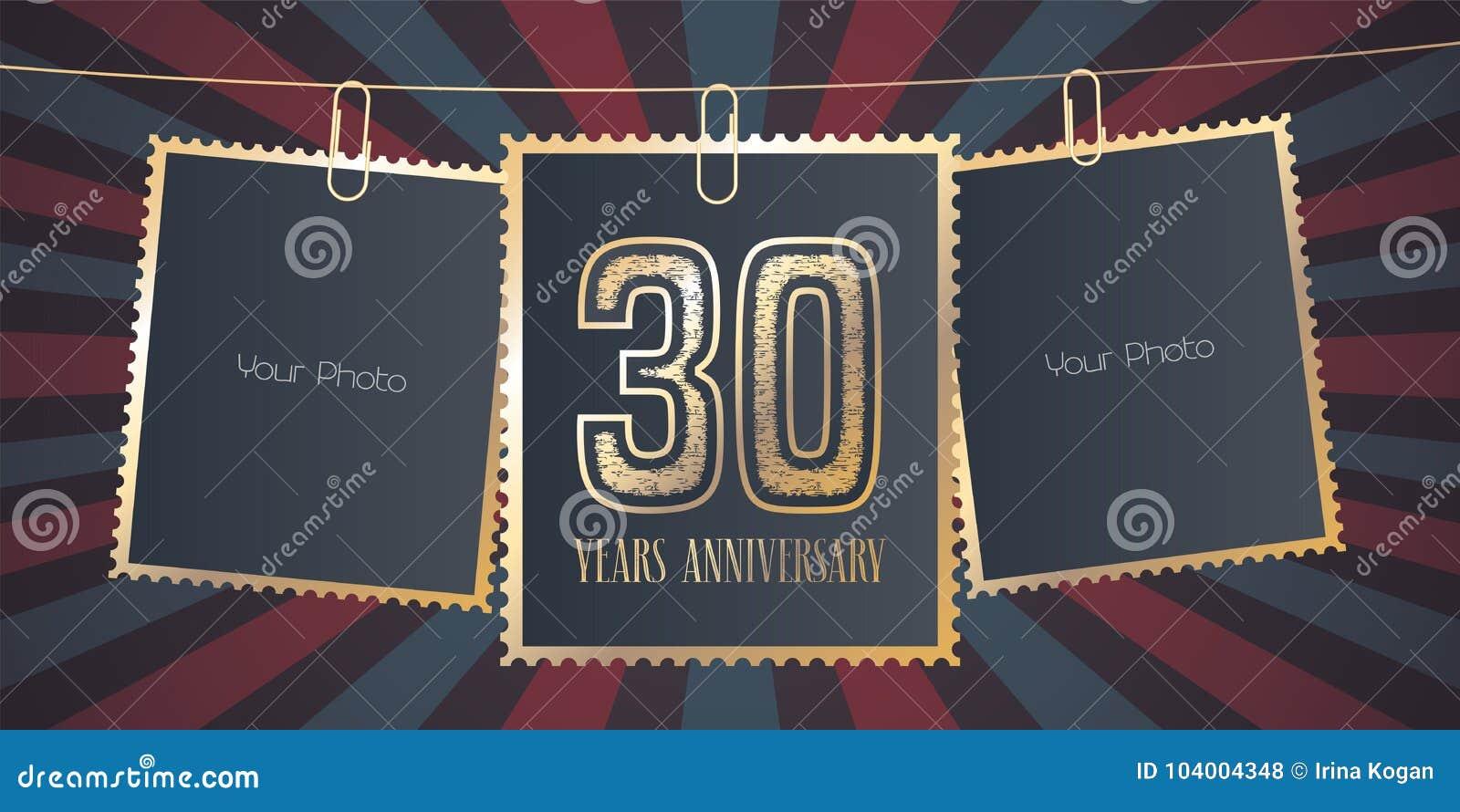 30 Años Del Aniversario De Emblema Del Vector, Logotipo Ilustración ...