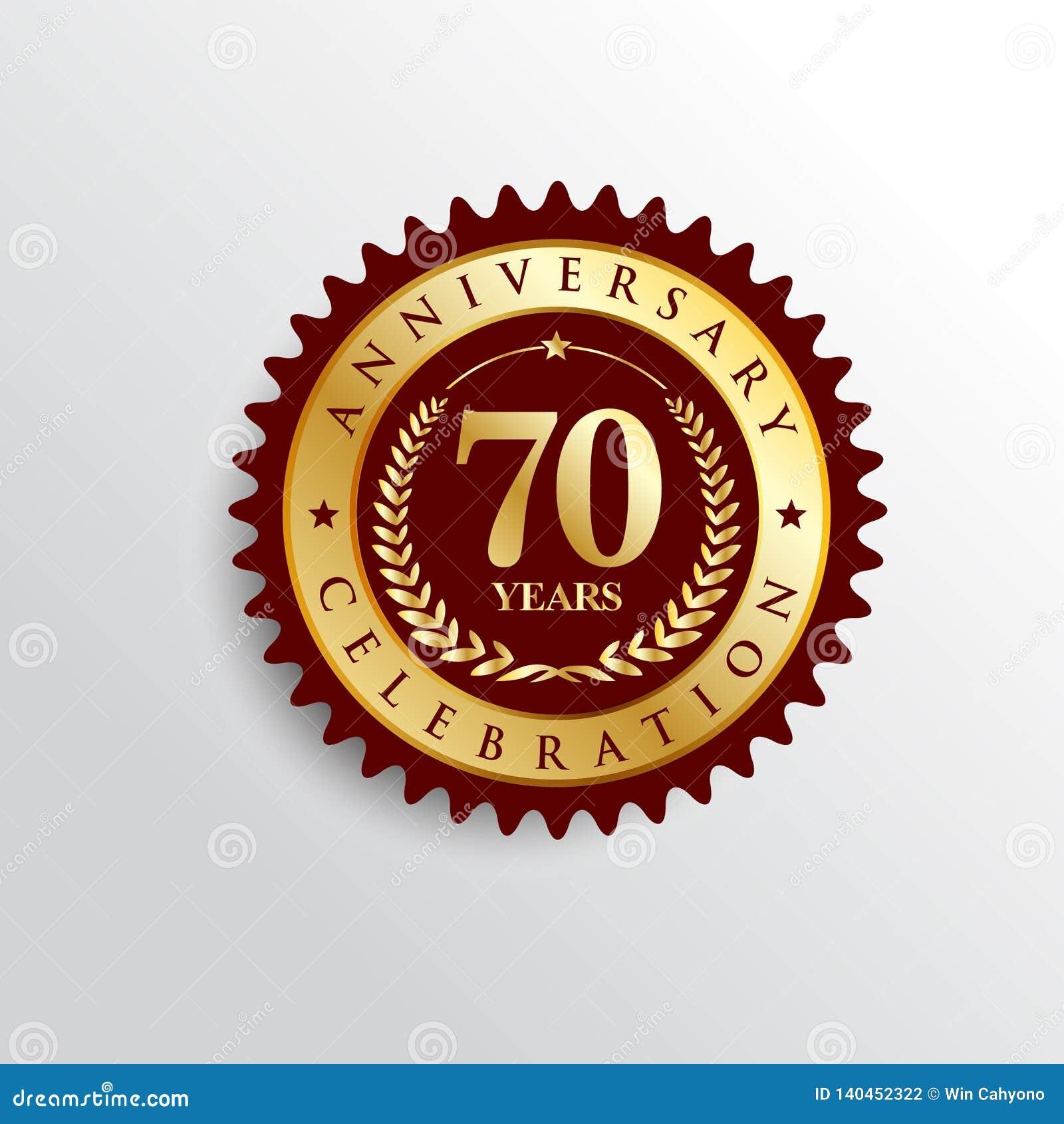 70 años del aniversario de la celebración de logotipo de oro de la insignia