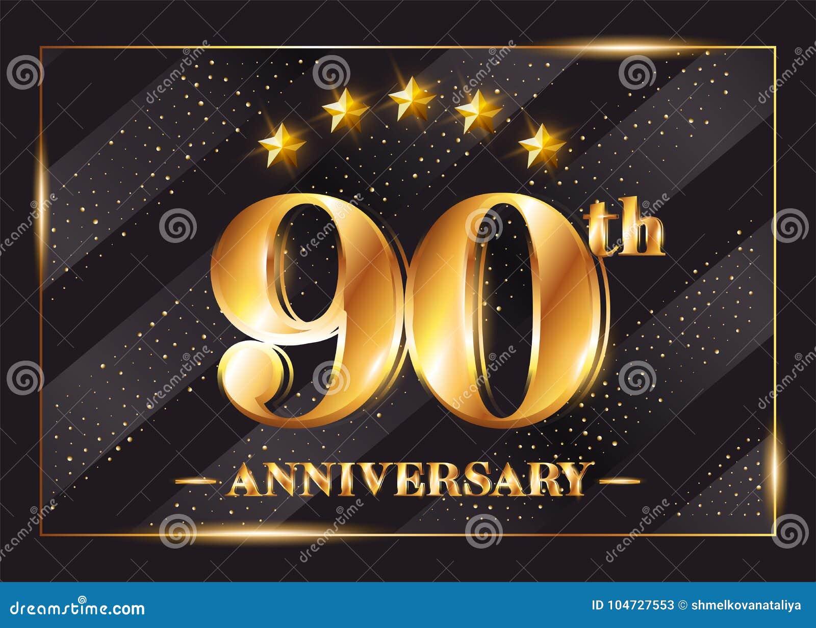90 Años Del Aniversario De La Celebración De Logotipo Del