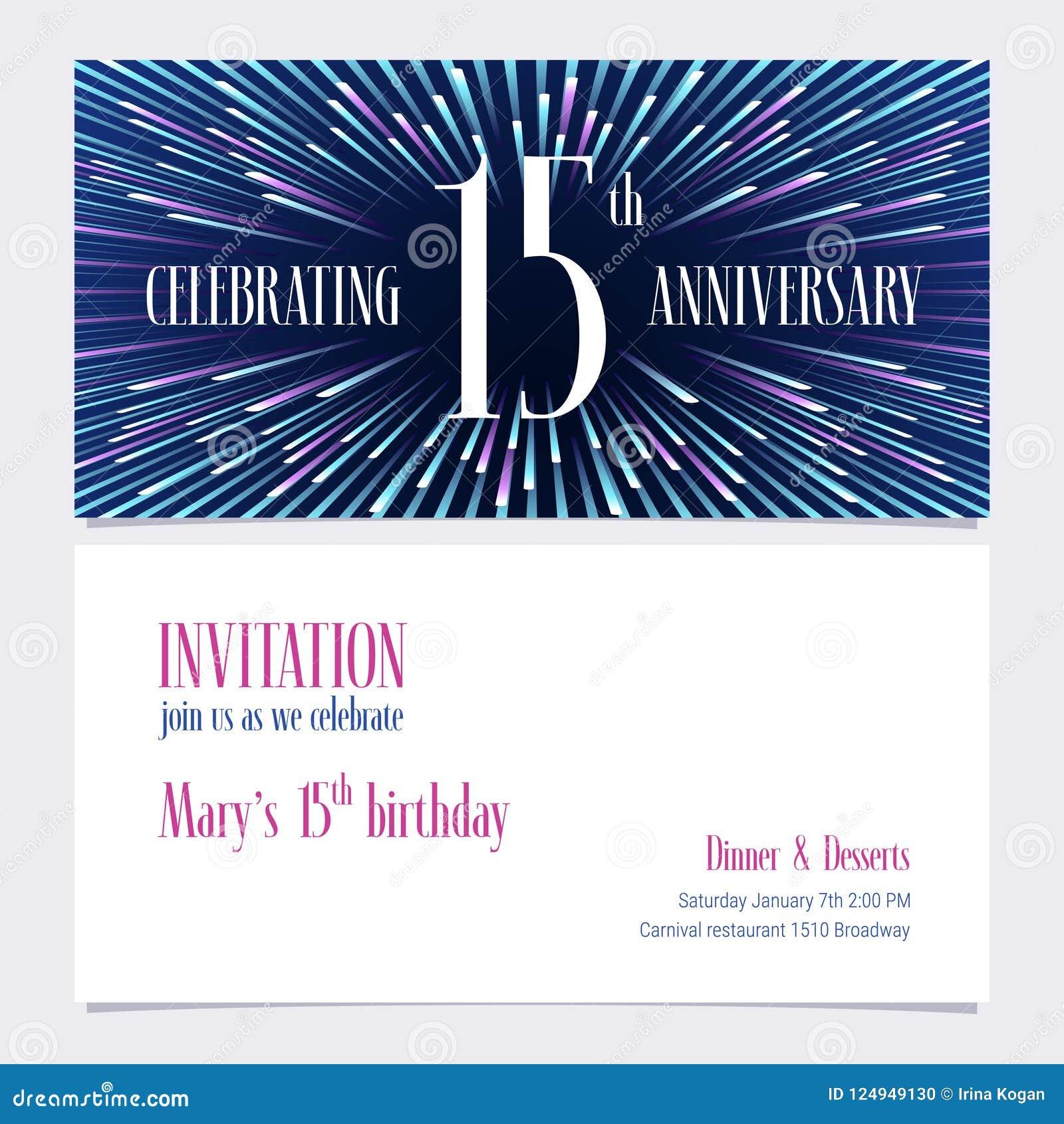 15 Años Del Aniversario De La Invitación De Ejemplo Del