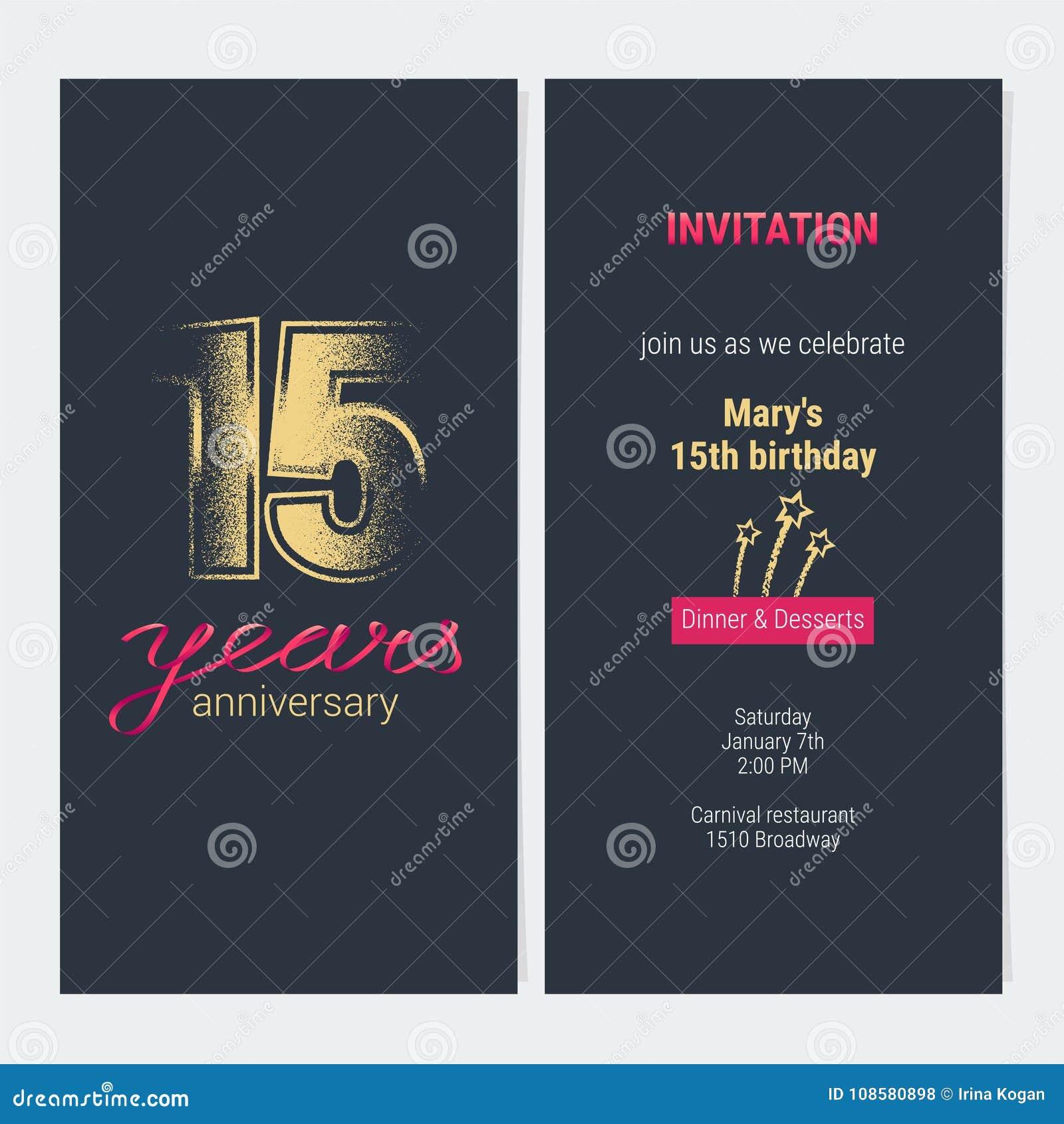 15 Años Del Aniversario De La Invitación De Tarjeta Del