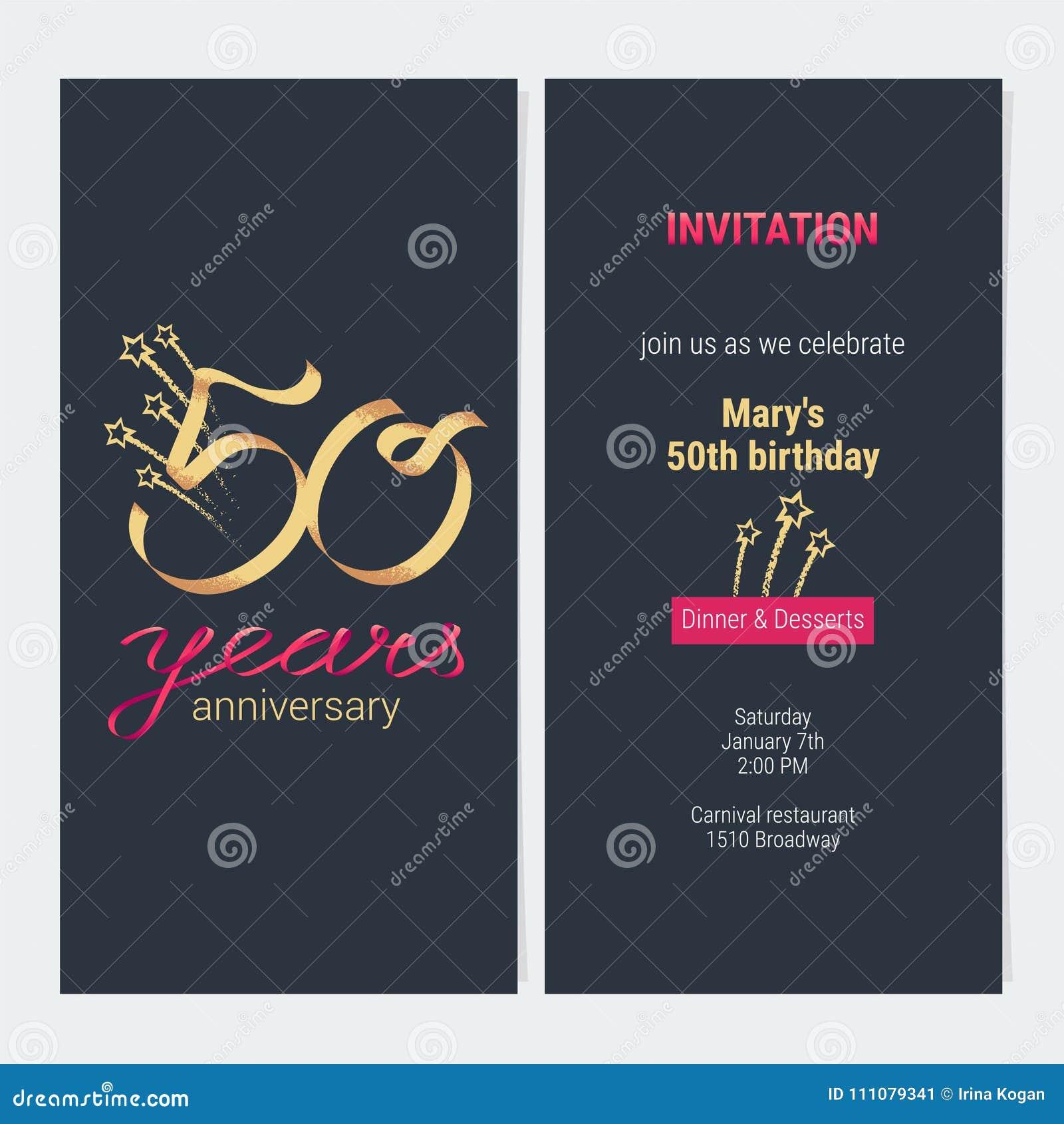 50 Años Del Aniversario De La Invitación De Vector De La