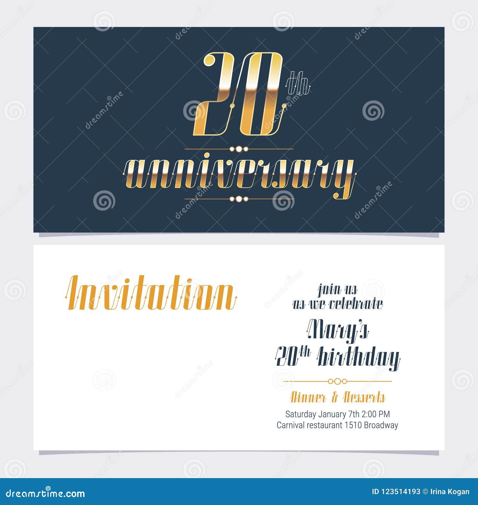 20 Años Del Aniversario De La Invitación De Vector De La