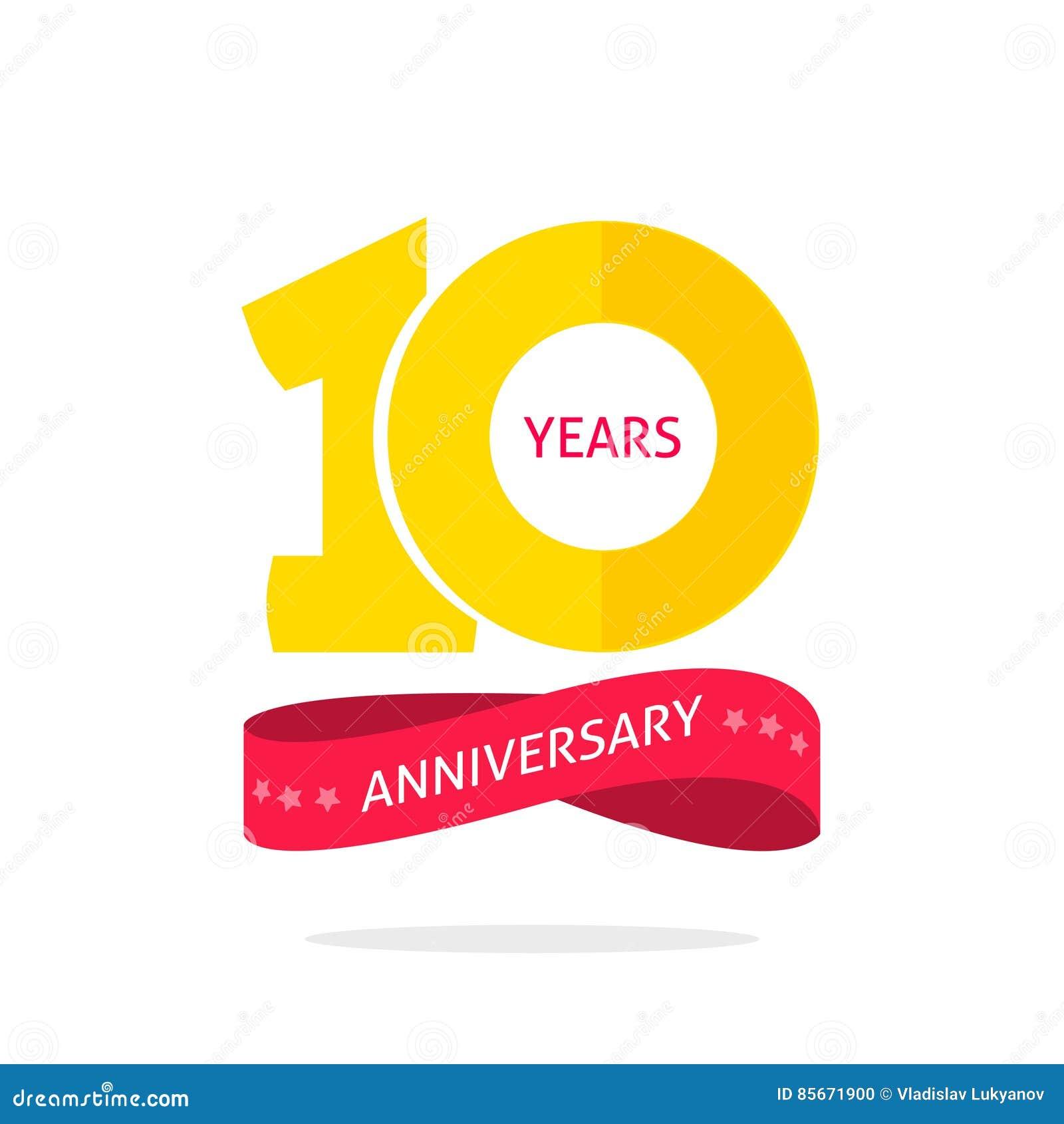 10 años del aniversario de plantilla del logotipo, 10ma etiqueta del icono del aniversario, símbolo de diez años de la fiesta de