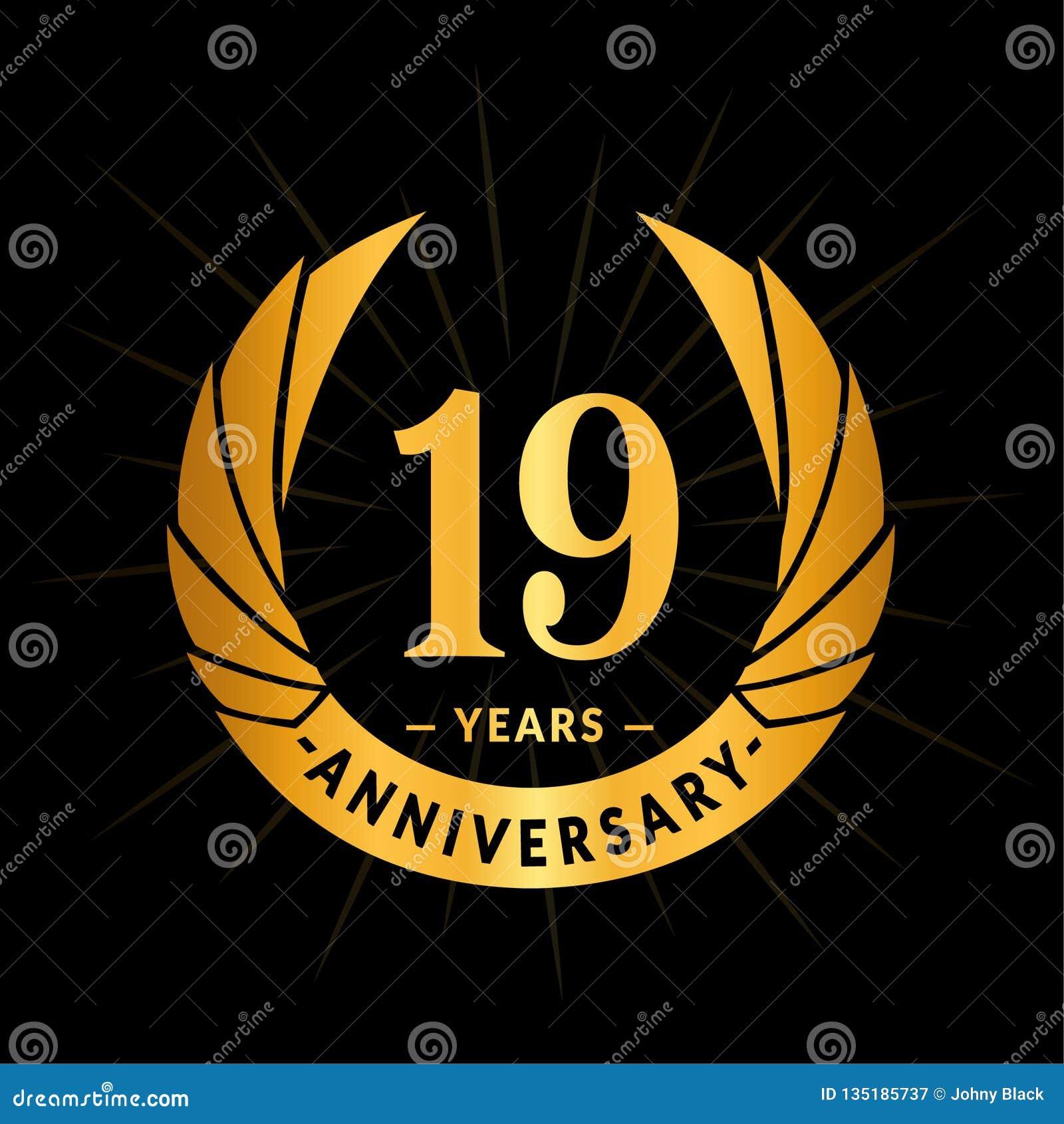 19 años del aniversario de plantilla del diseño Diseño elegante del logotipo del aniversario Diecinueve años de logotipo