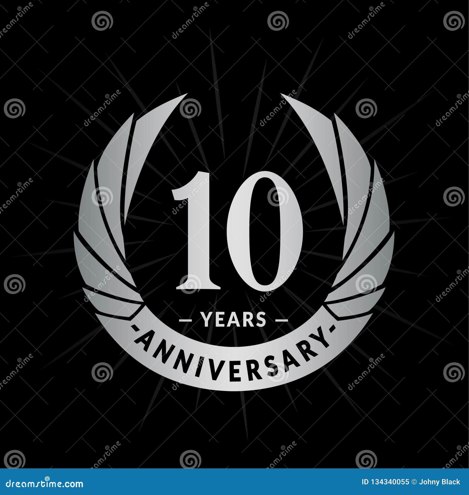 10 años del aniversario de plantilla del diseño Diseño elegante del logotipo del aniversario Diez años de logotipo