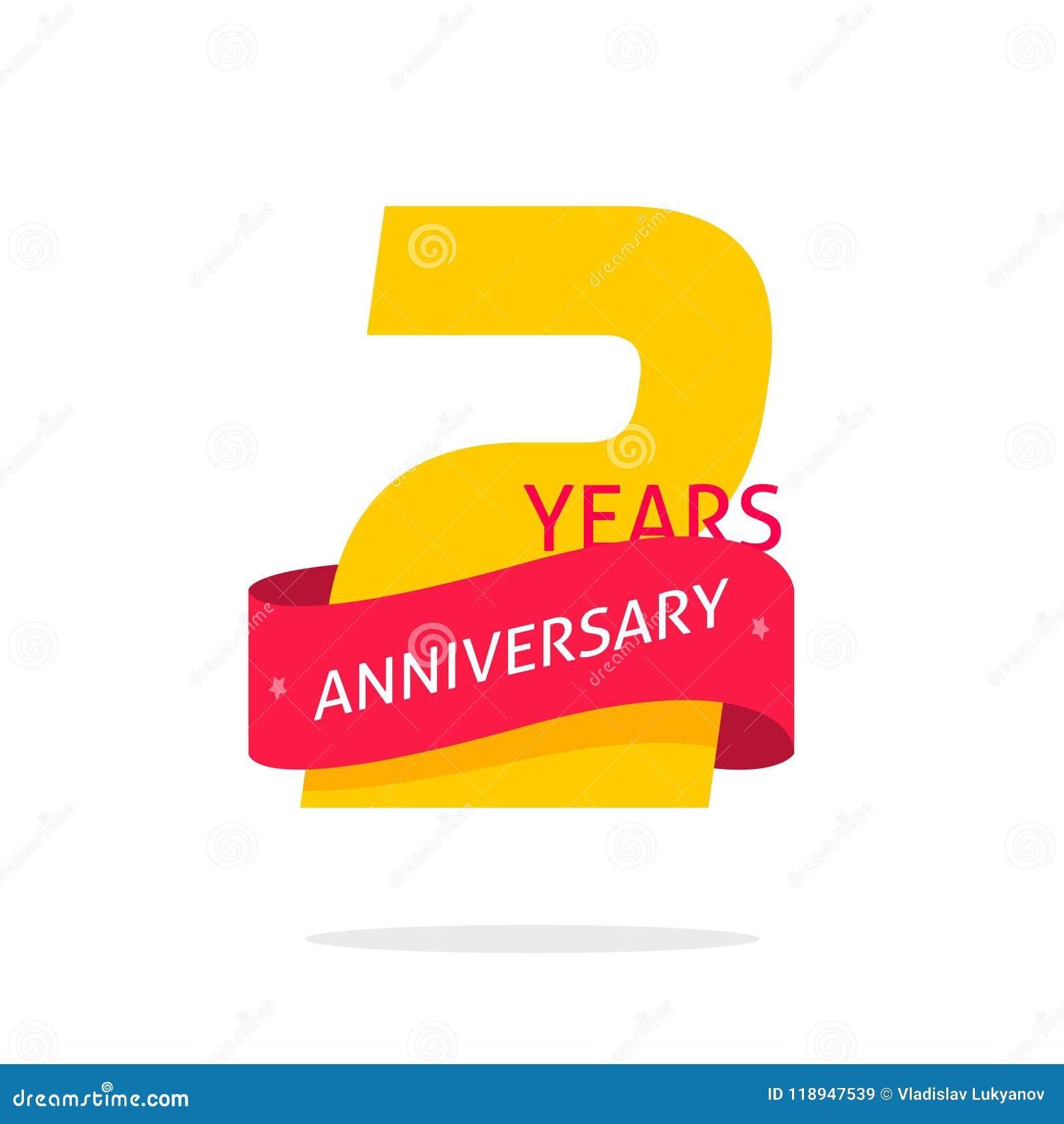 2 Años Del Aniversario De Plantilla Del Logotipo Aislada En Blanco ...
