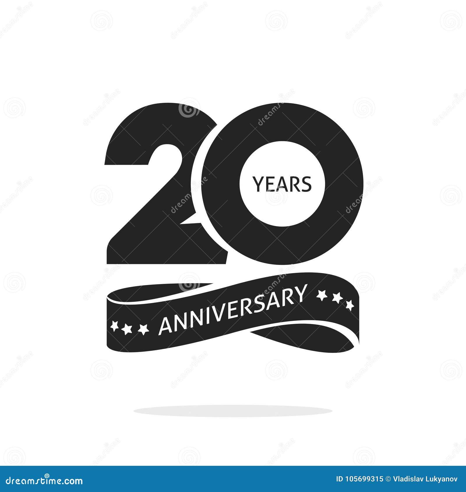 20 Años Del Aniversario De Plantilla Del Logotipo, Vigésima Etiqueta ...