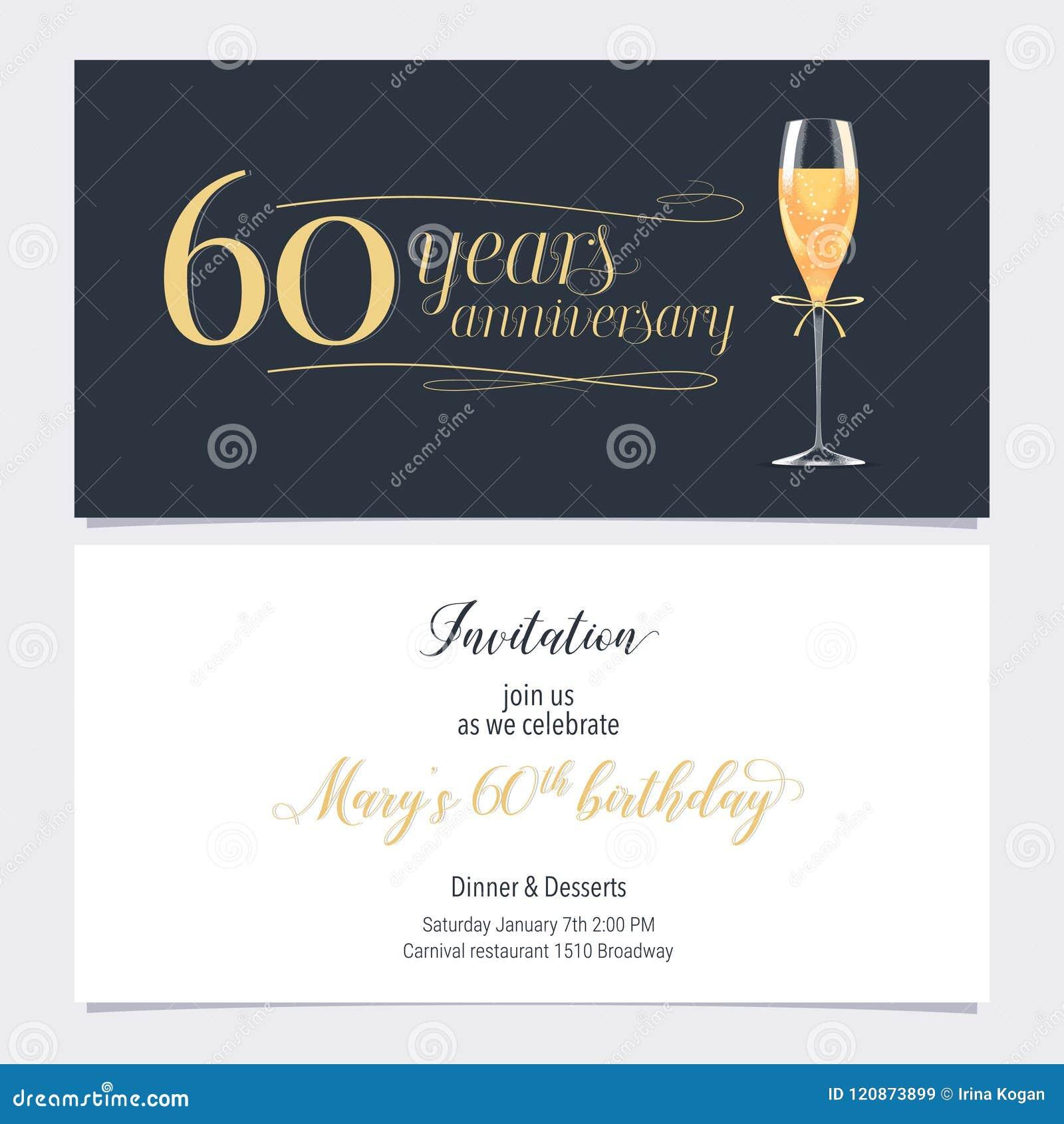 60 Años Del Aniversario De Vector De La Invitación