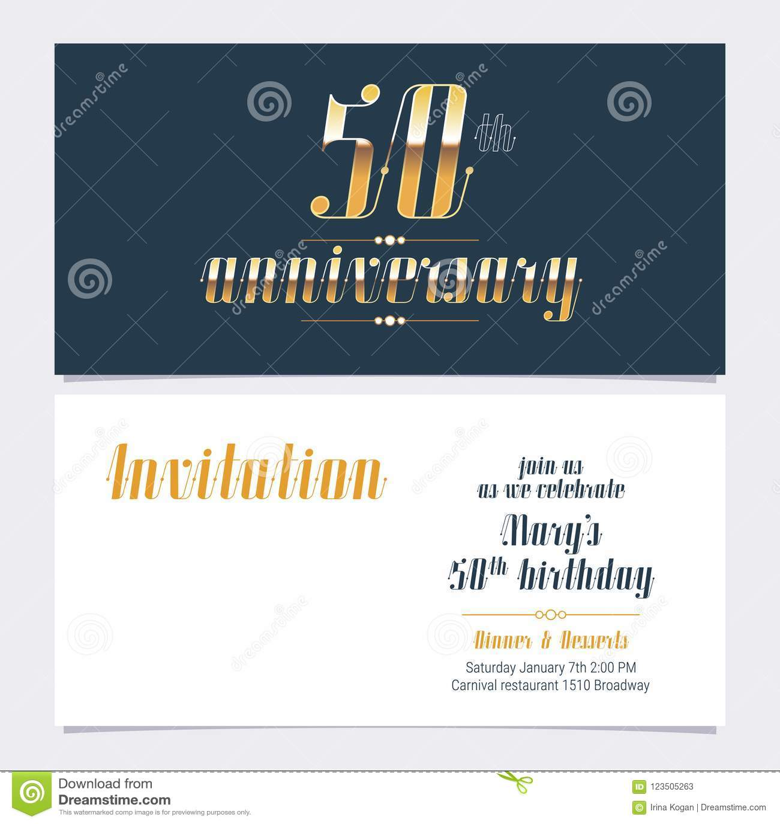 50 Años Del Aniversario De Vector De La Invitación