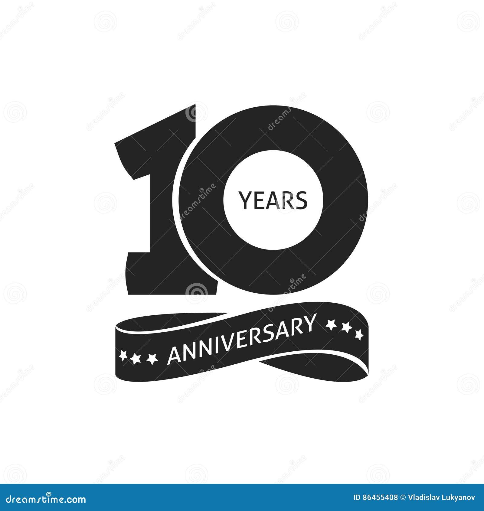 10 años del aniversario del pictograma de icono del vector, 10ma etiqueta del logotipo del cumpleaños del año