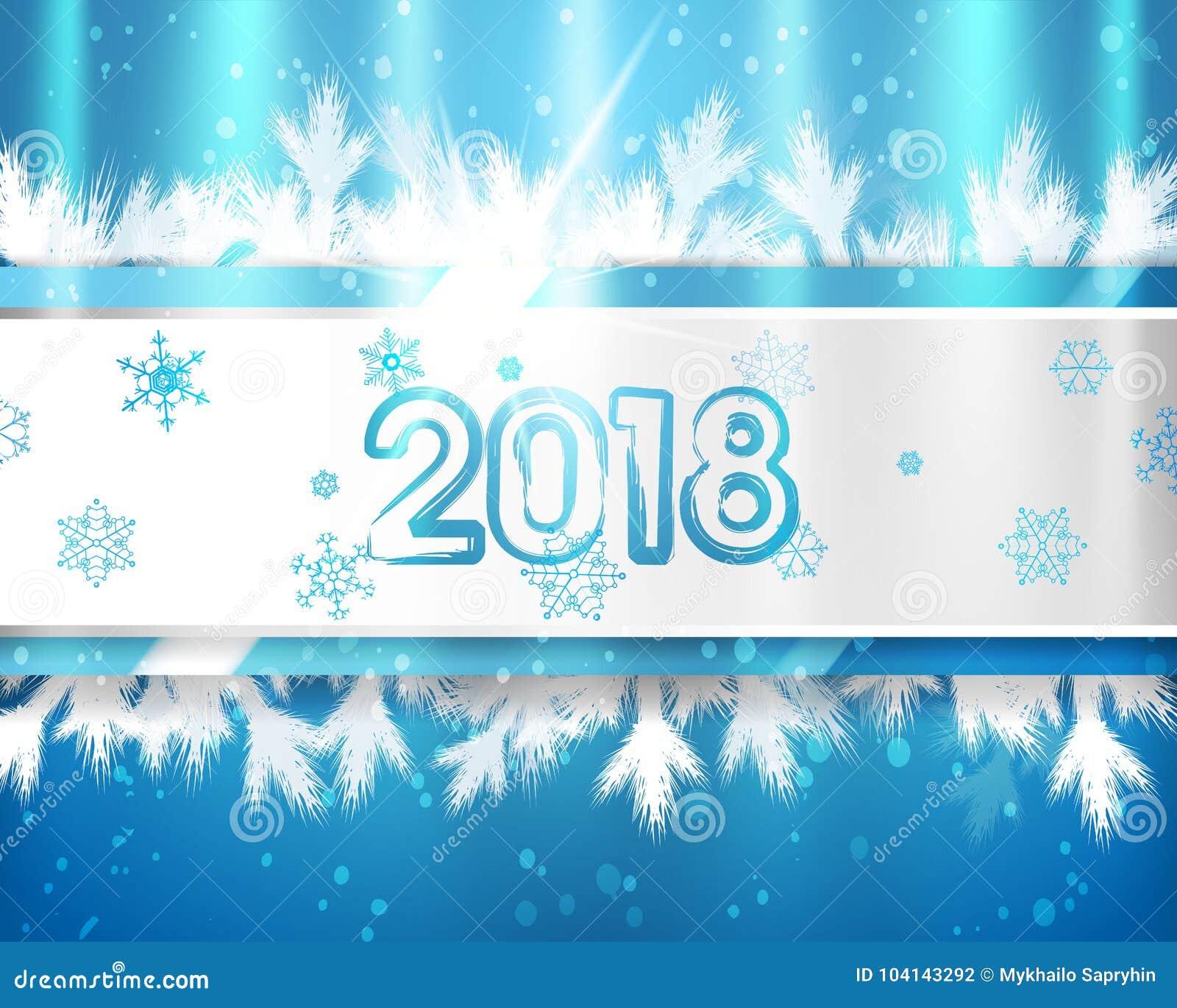 2018 Años Nuevos con las ramas y los copos de nieve de árbol de navidad en fondo azul Ejemplo del EPS