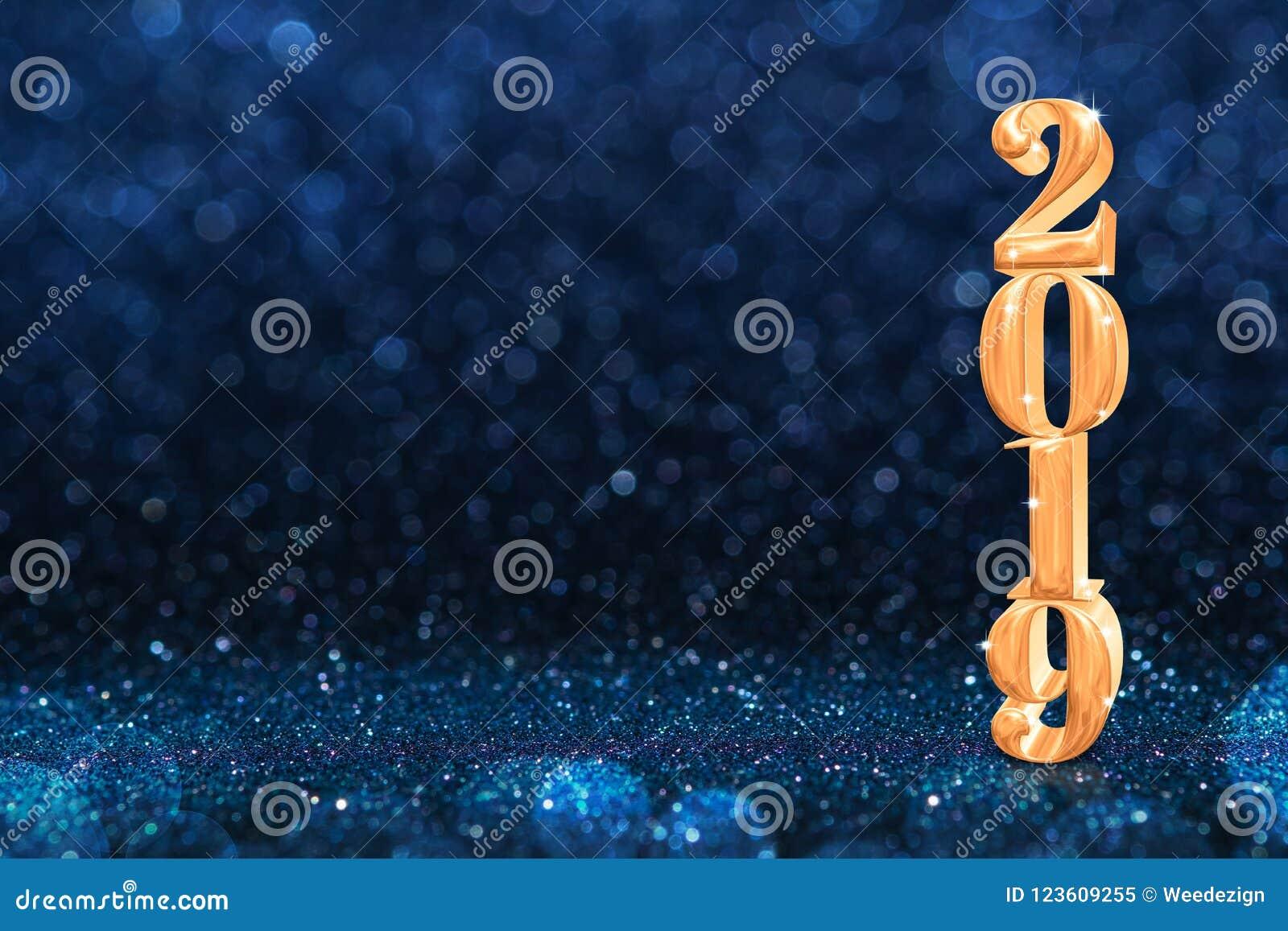 2019 Años Nuevos de oro de representación de 3d en el extracto bl oscuro chispeante