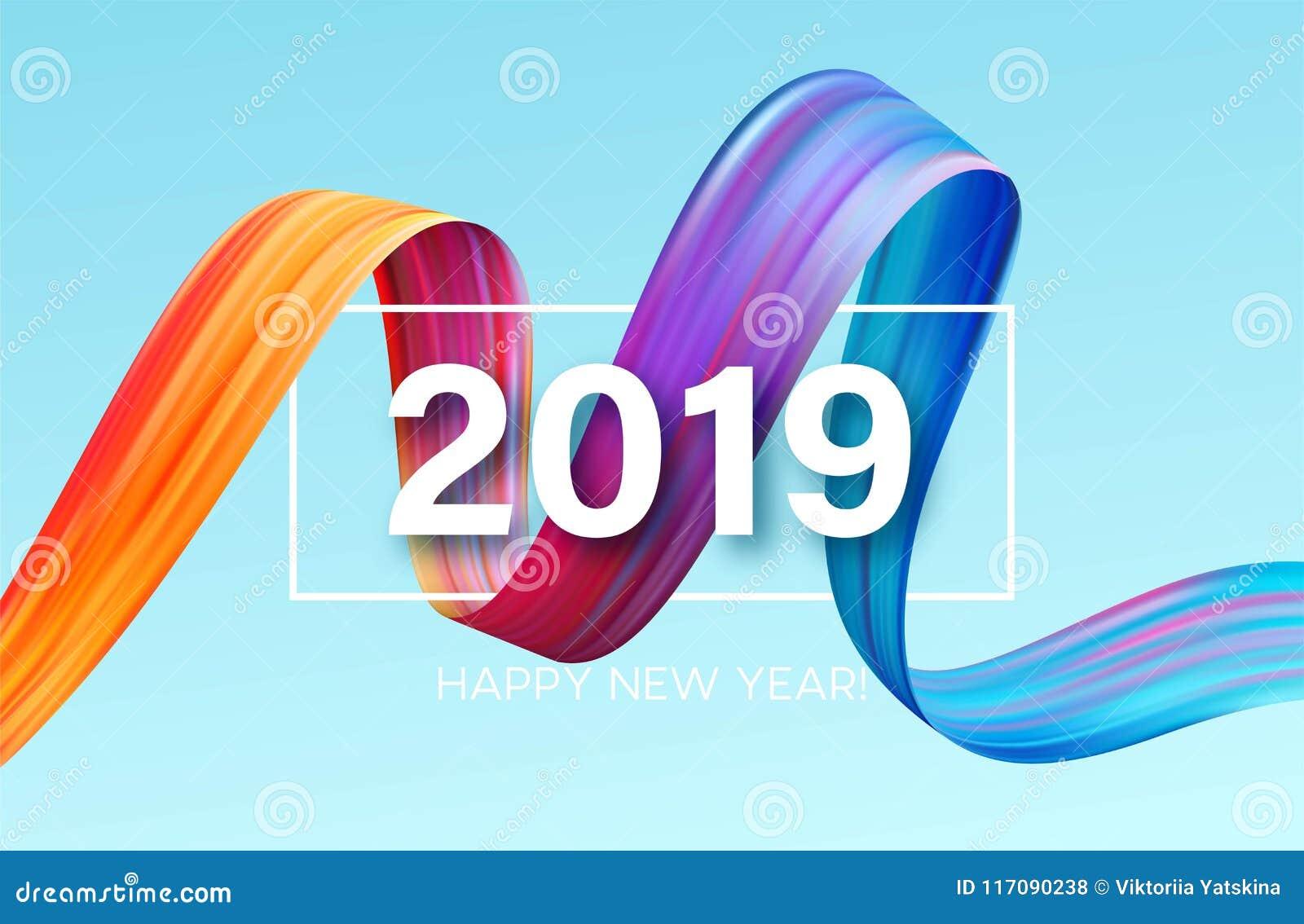2019 Años Nuevos de un elemento colorido del diseño del aceite o de la pintura acrílica de la pincelada Ilustración del vector