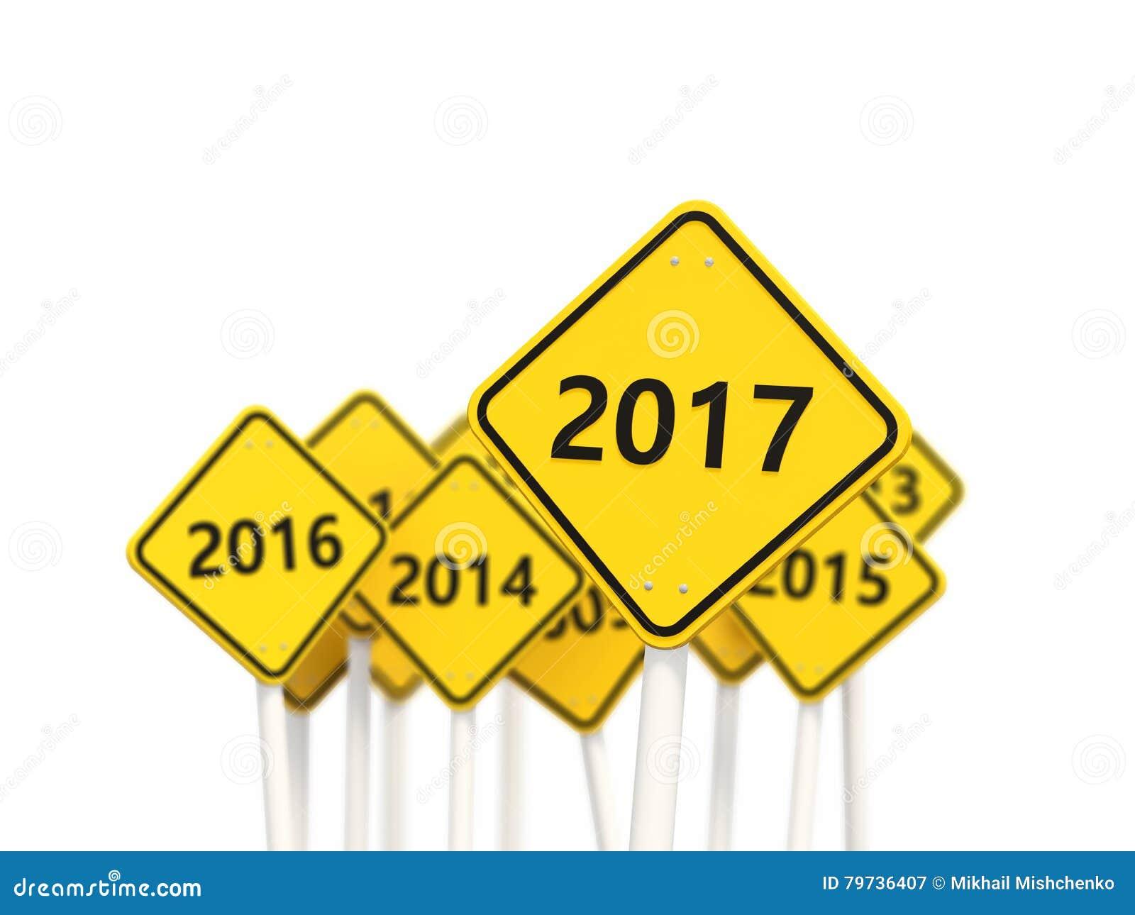 2017 Años Nuevos en señal de tráfico amarilla