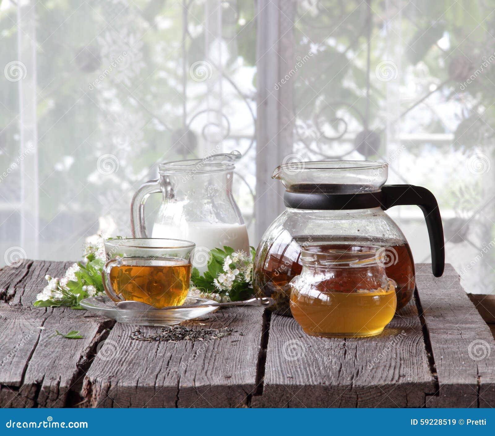Aún-vida con té, leche y miel