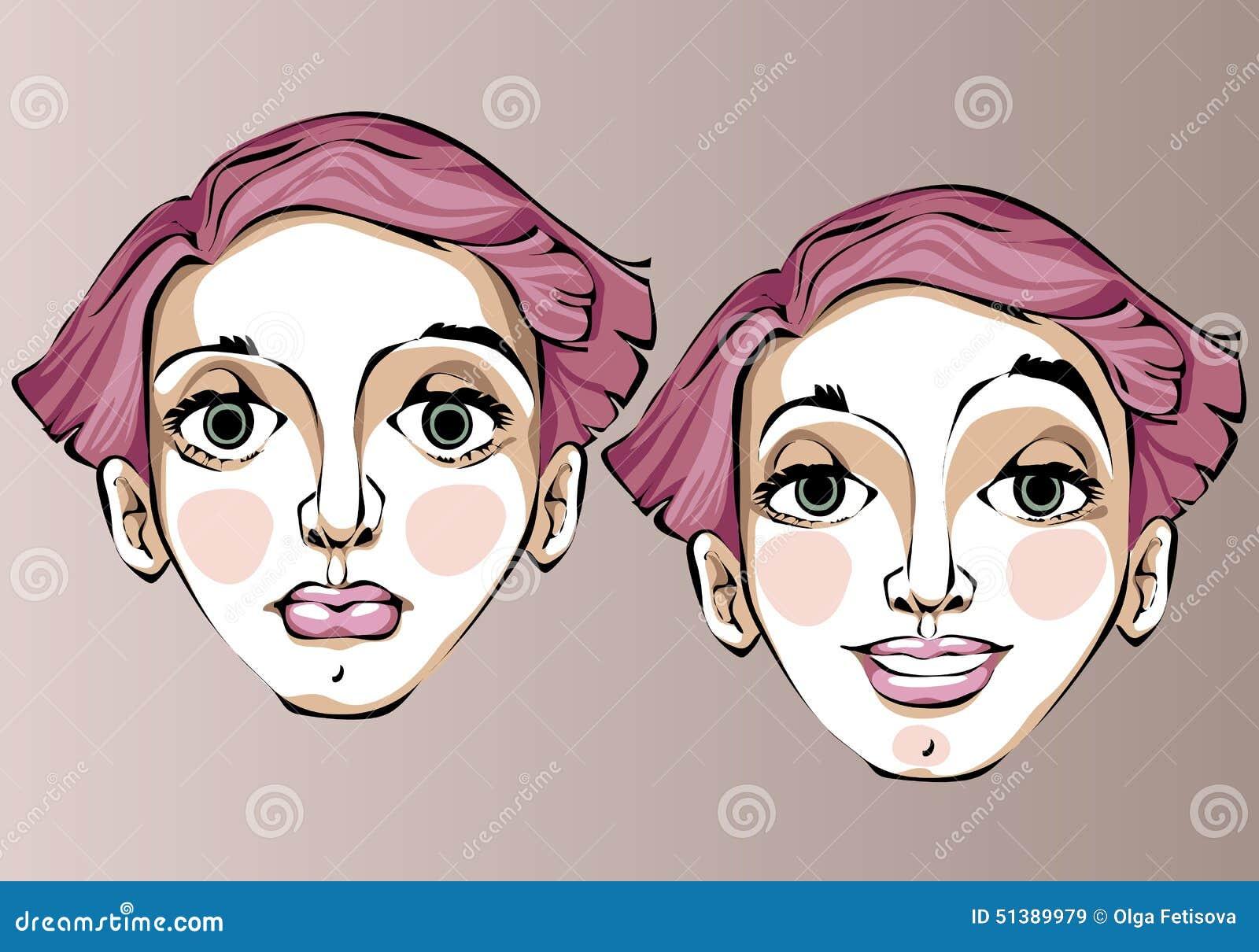 一名妇女的不同的表情的例证有桃红色直发的.图片