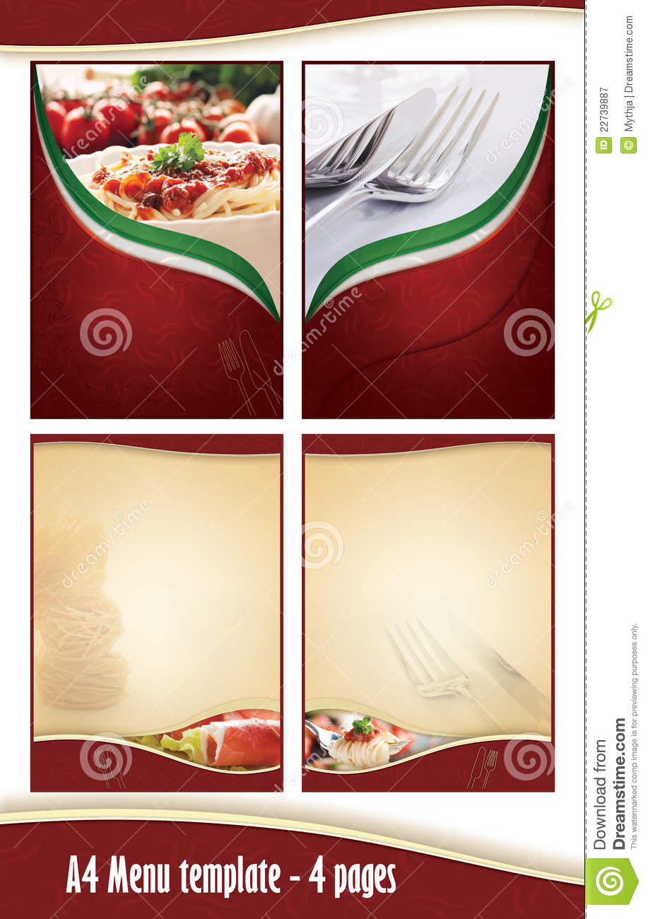 a4 4 pages menu template italian restaurant stock illustration