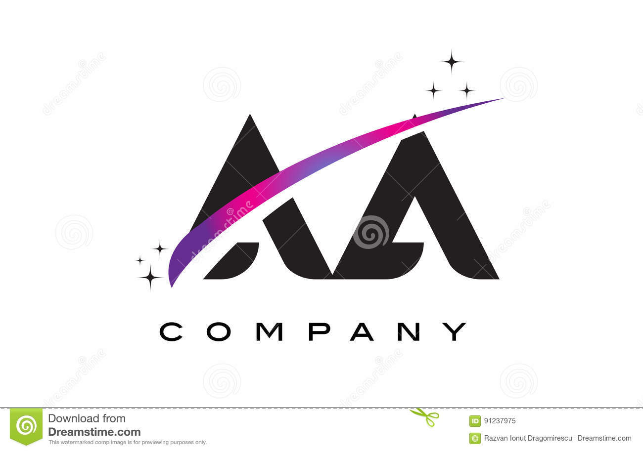 Aa A Black Letter Logo Design With Purple Magenta Swoosh