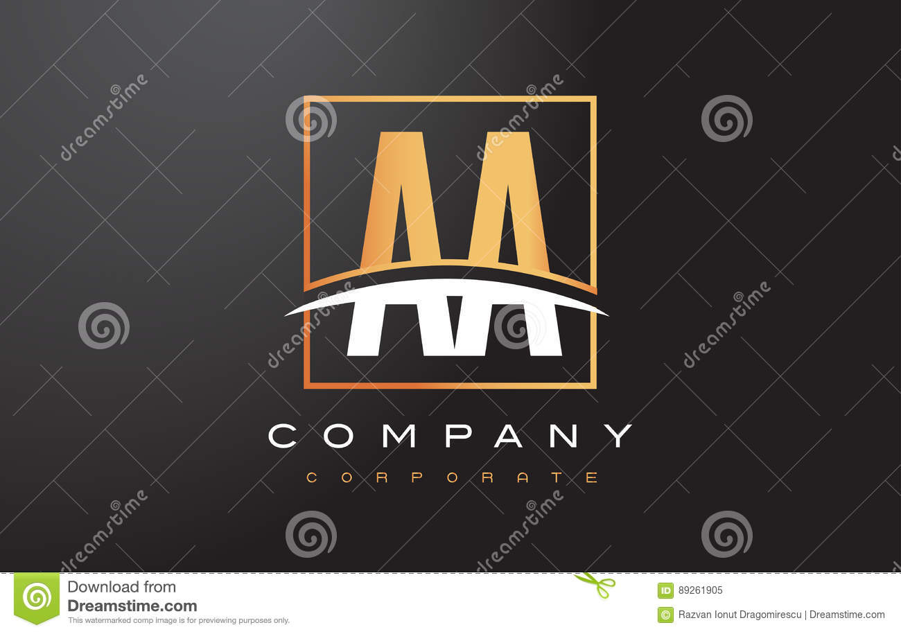 AA A Golden Letter Logo Design with Gold Square and Swoosh.