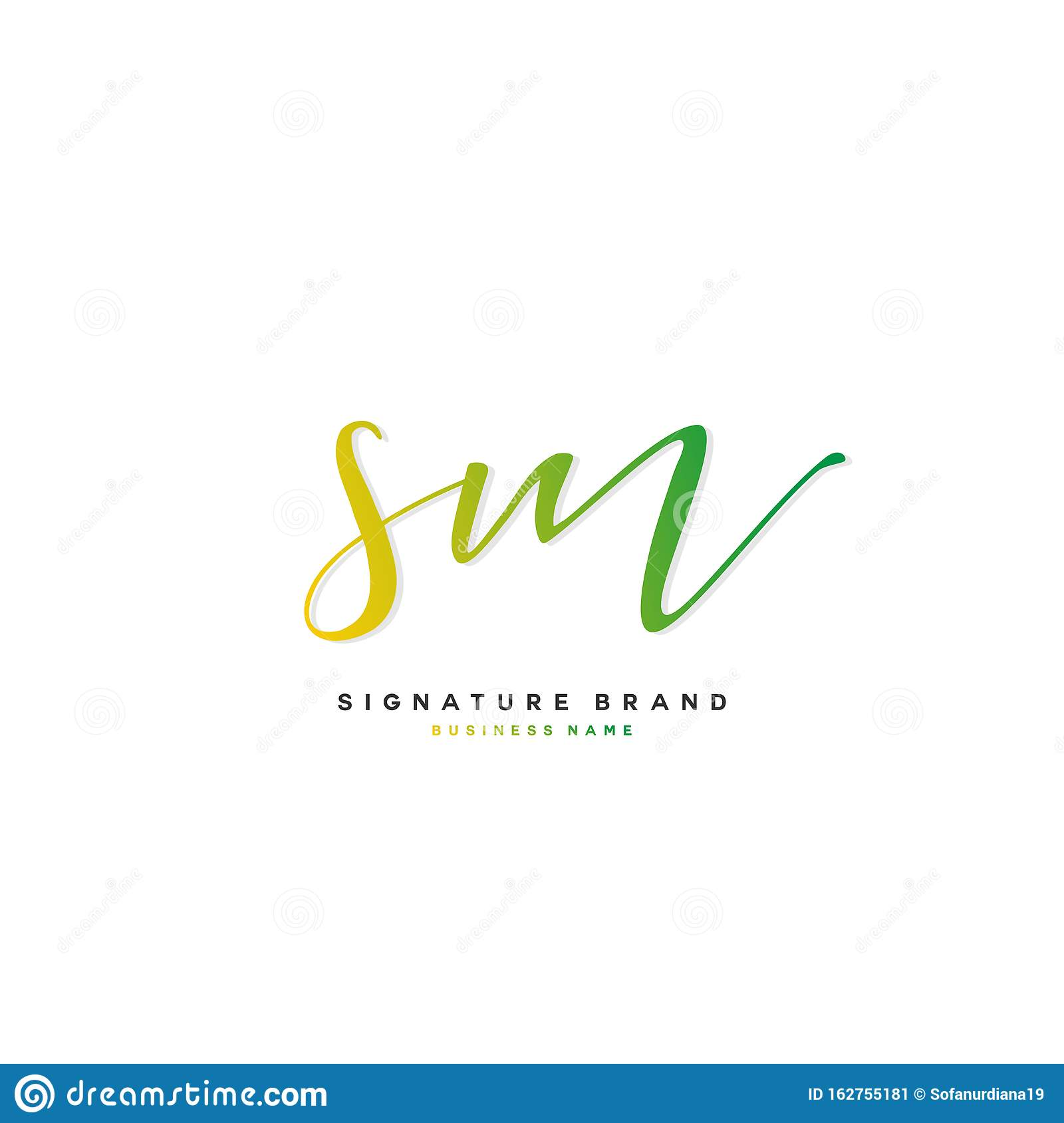 S M Sm Initial Letter Handwriting And Signature Logo Concept Design Stock Vector Illustration Of Vector Template 162755181