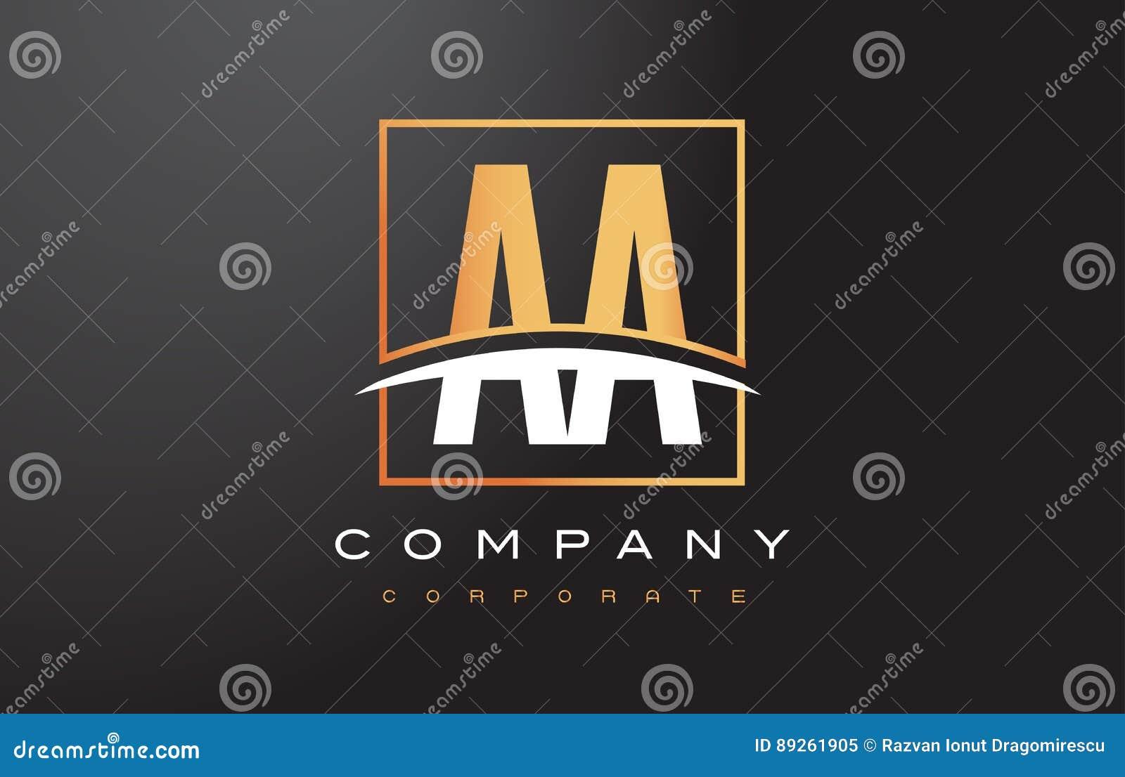 Aa une lettre d or Logo Design avec la place et le bruissement d or