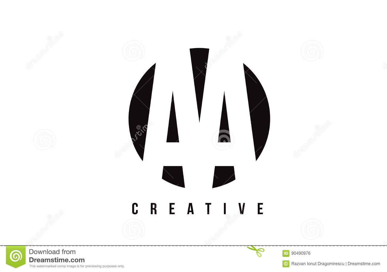 Aa A White Letter Logo Design With Circle Background Stock