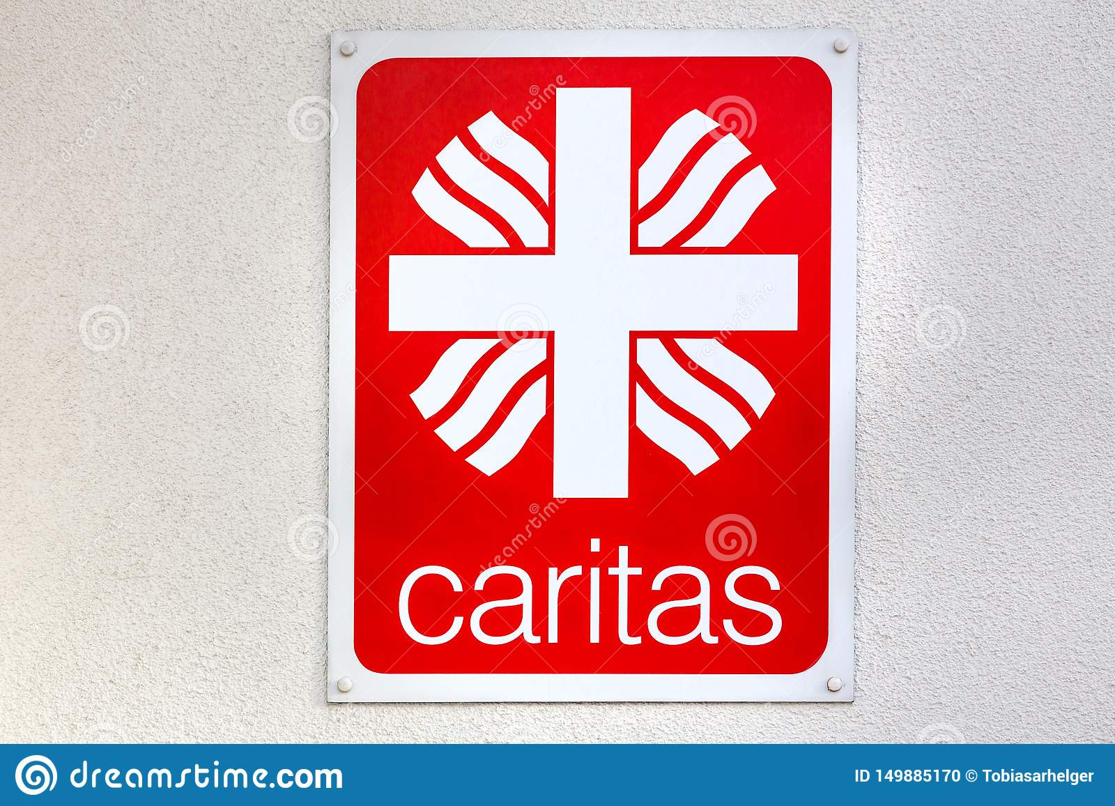 Caritas sign in aachen germany