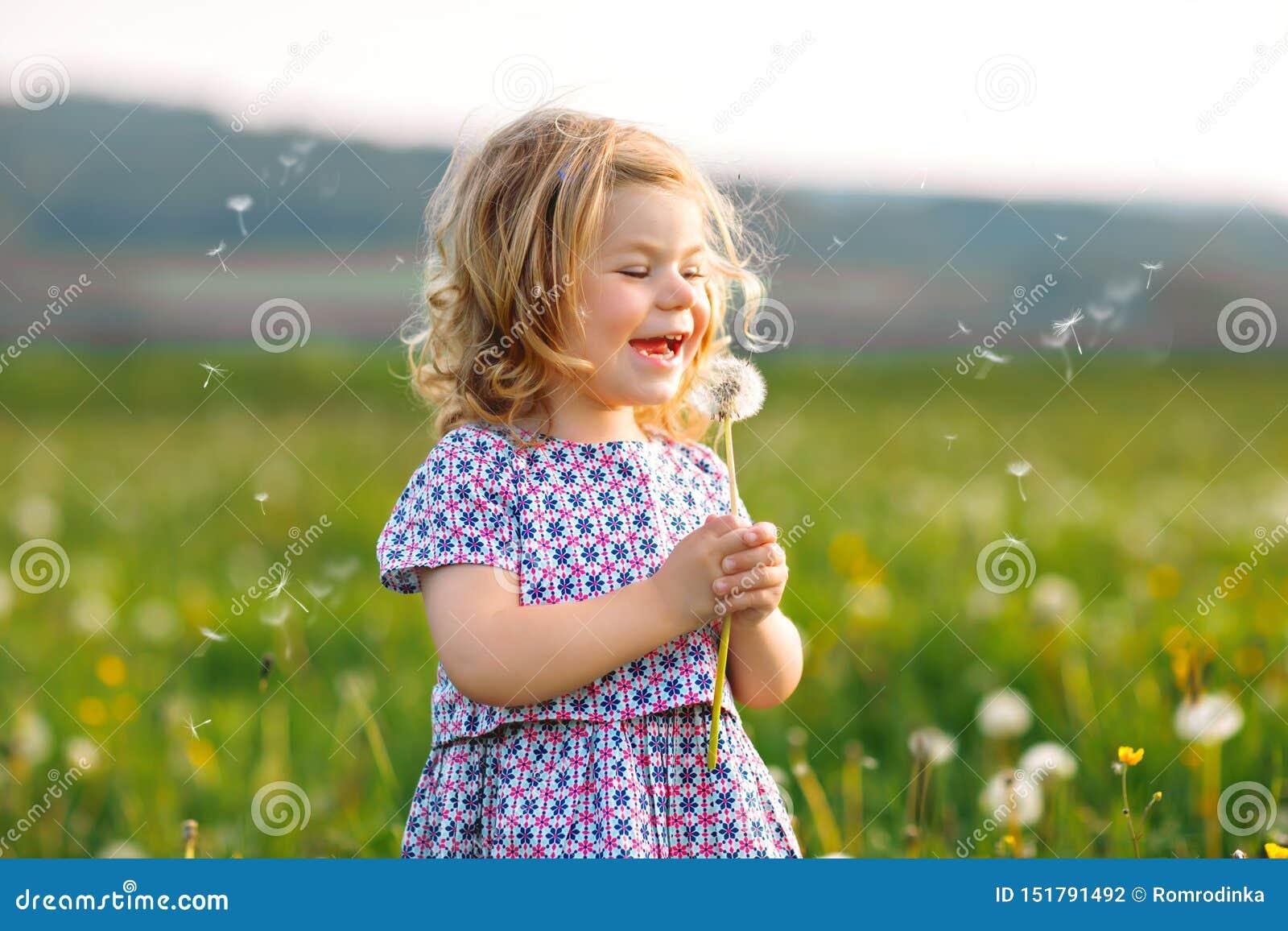 Aanbiddelijk leuk weinig babymeisje die op een paardebloembloem blazen op de aard in de zomer Gelukkige gezonde mooi