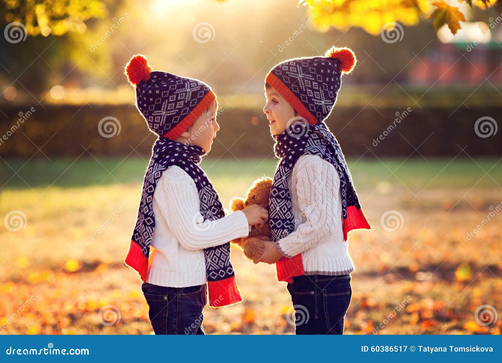 Aanbiddelijke kleine broers met teddybeer in park op de herfstdag