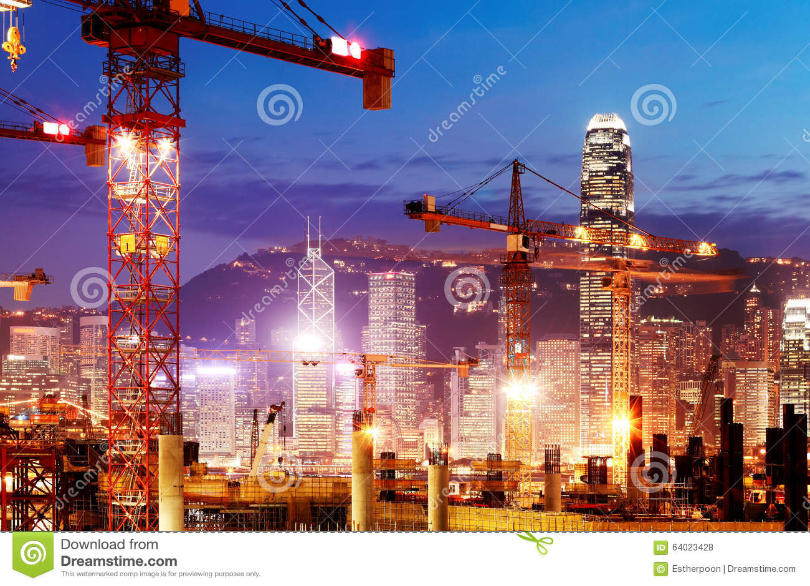 In aanbouw drukken de werken van de Hong Kong-sectie van Guangzhou Shenzhen Hong Kong spoorverbinding uit
